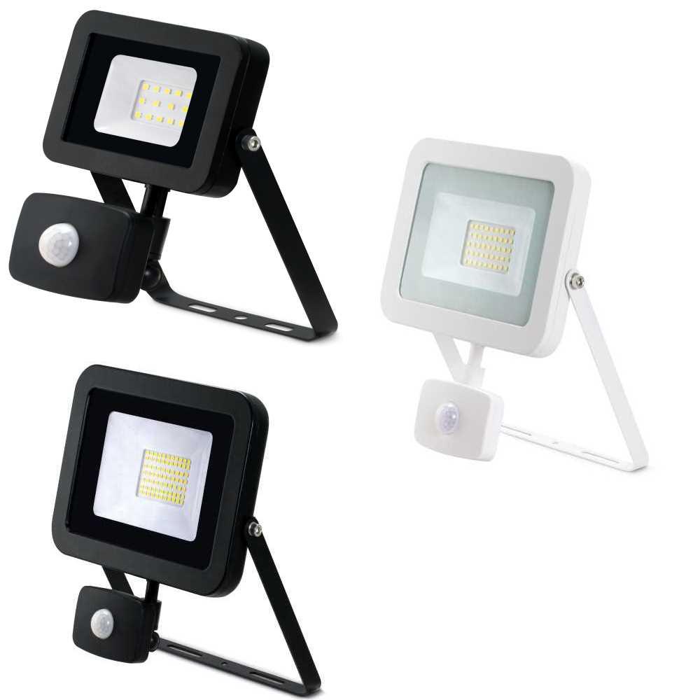 JCC High Performance LED PIR Floodlight 10W 20W 30W or 50W Black or White 4K IP44