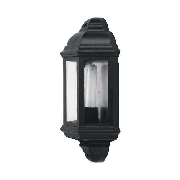JCC Montella Half Wall Lantern IP44 Black E27 ES