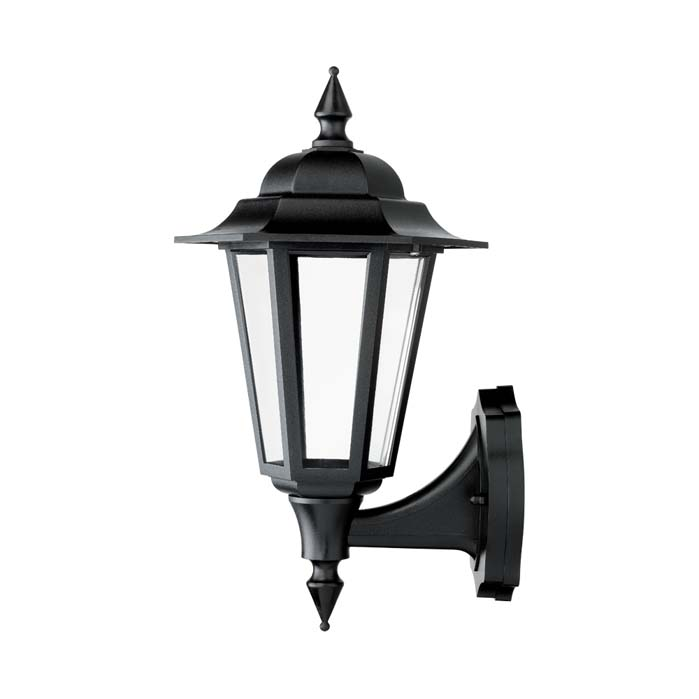 JCC Montella LED Wall Lantern With Bottom Arm & PIR Black