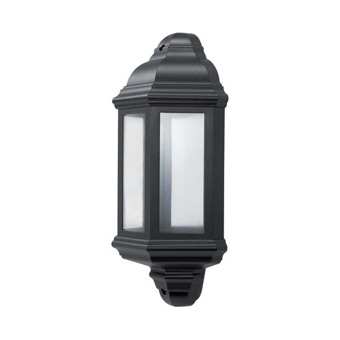 JCC Montella LED Half Wall Lantern With PIR Black