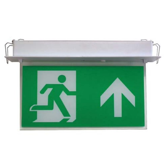 Channel Razor LED Emergency Exit Sign with Recessed Mounted Fitting