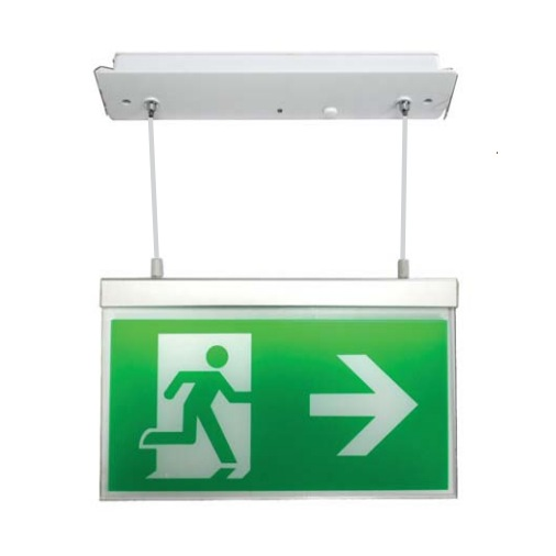 Channel Razor LED Emergency Exit Sign with Recessed Hanging Fitting