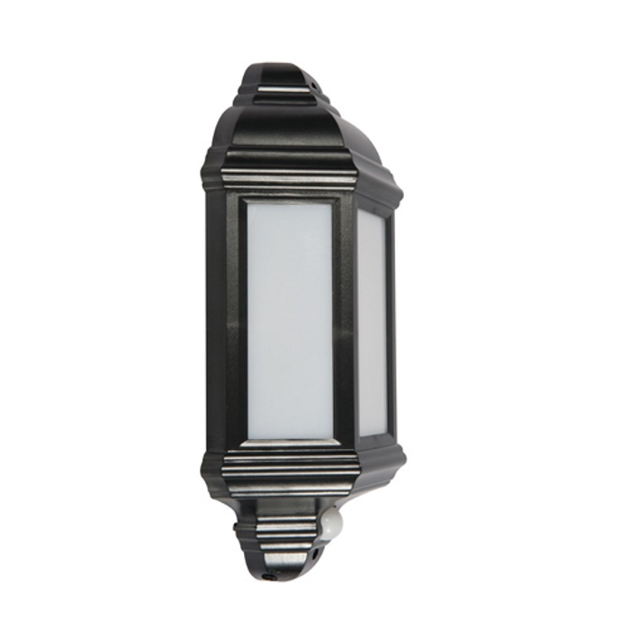 KSR Manta LED Half Lantern PIR Black
