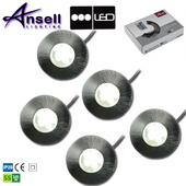 Ansell Melita LED 5 x Cool White S/Steel Plinth Light Kit