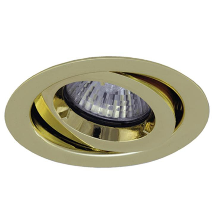 Ansell iCage Mini Tilt LED Downlight Brass Fire Rated