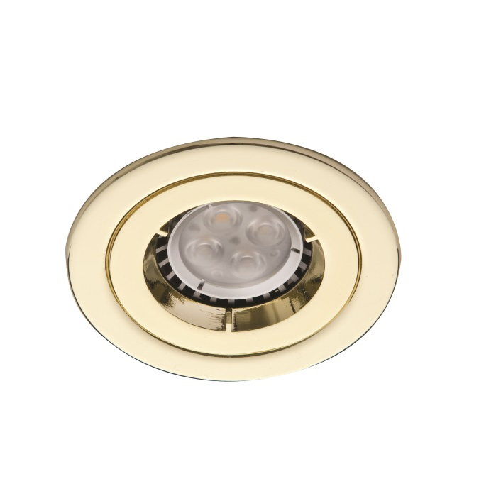 Ansell iCage Mini Fixed LED Downlight Brass Fire Rated