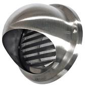 100mm Stainless Steel Round Cowled Wall Outlet with Louvres