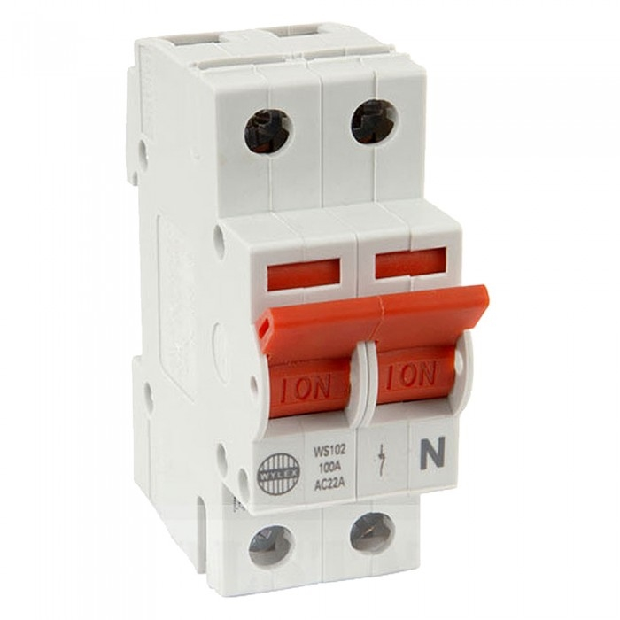 wylex ws102 100a isolator 2 pole 2 module | wylex switchfuses & isolators |  fastlec co uk