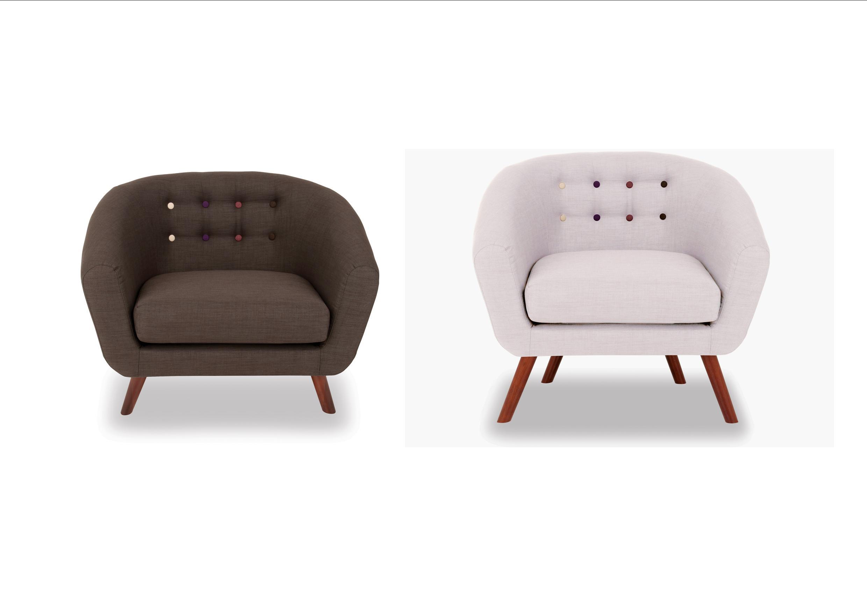 Anja Dark or Light Grey Tub Chair with Button Detail - Retro Design ...