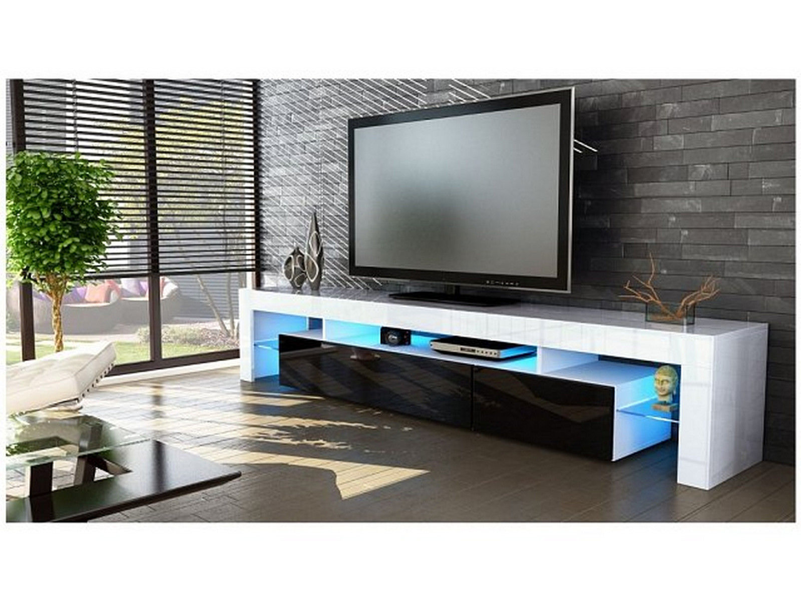 Peru Entertainment Tv Unit High Gloss White Or Black Cabinets Shelves Leds