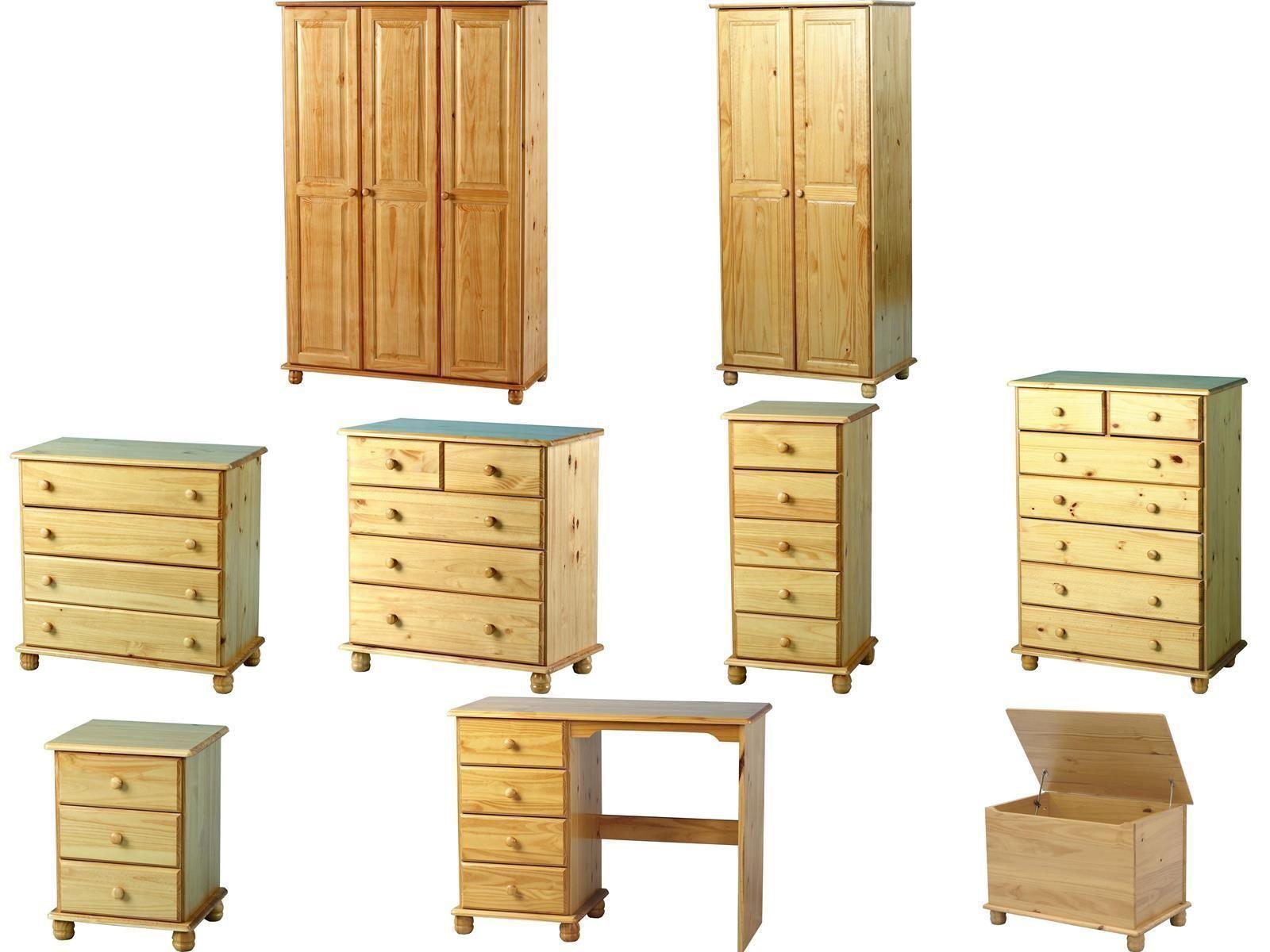 Details about Sol Antique Pine Solid Bedroom Furniture Wardrobes Drawers  Bedside Desk Sets