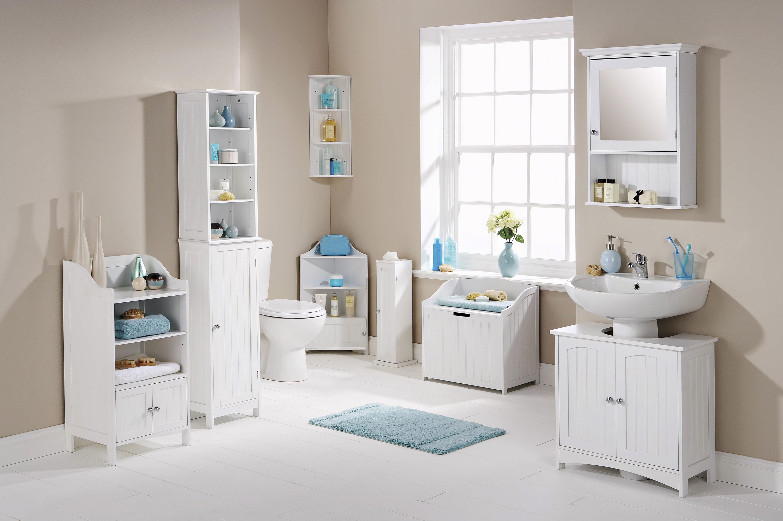 Colonial White Wood Bathroom Furniture Cupboards Storage Shelving ...