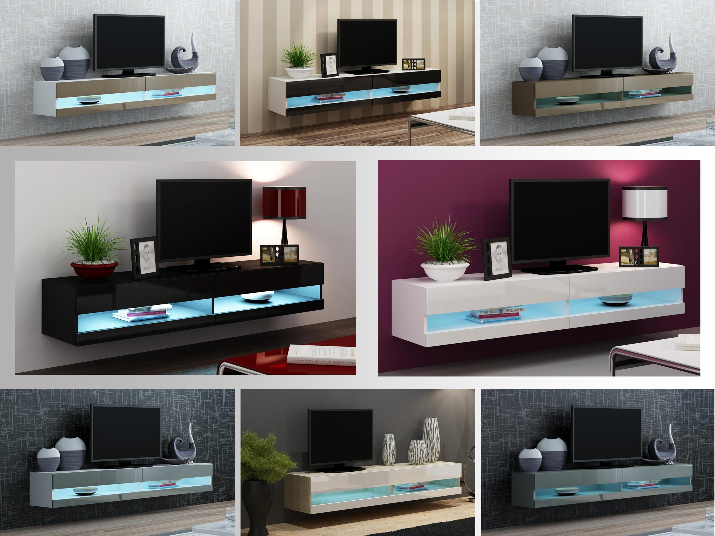 TV Stand Cabinet With LED Lights High Gloss | Entertainment Floating Wall  Unit