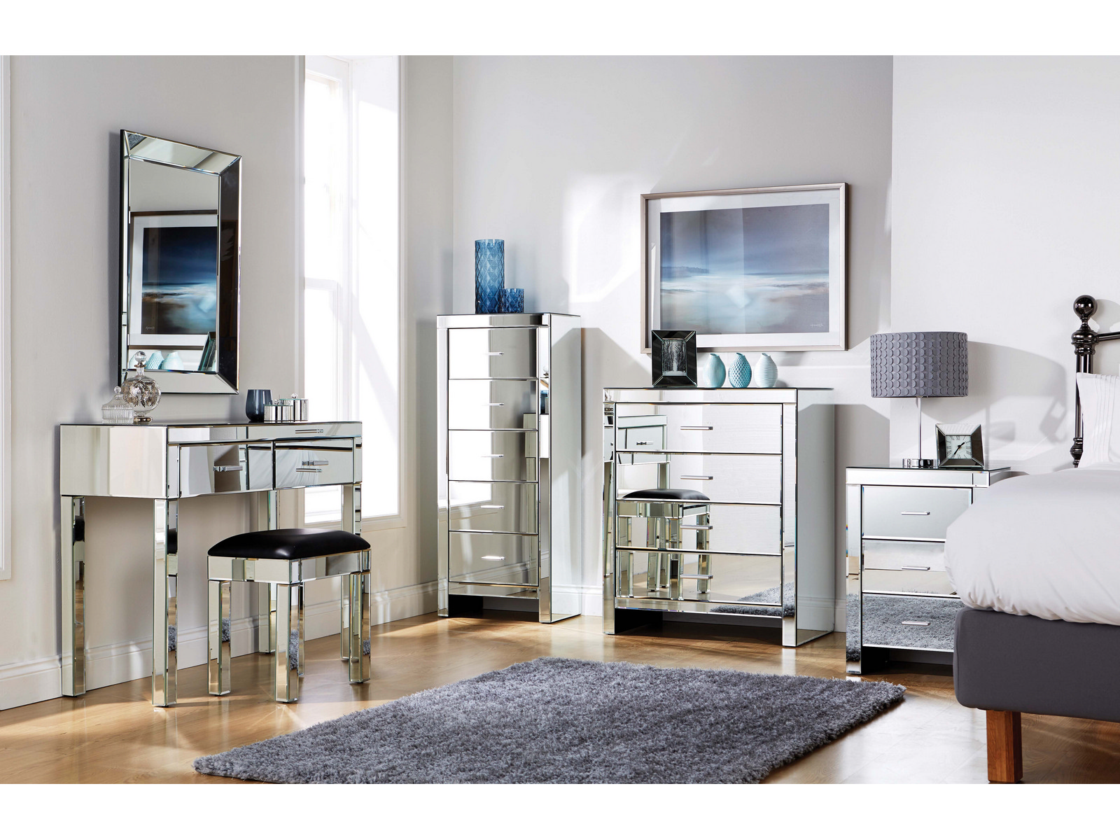 Details about mirrored furniture bedroom collection glass chest drawers dressing table range