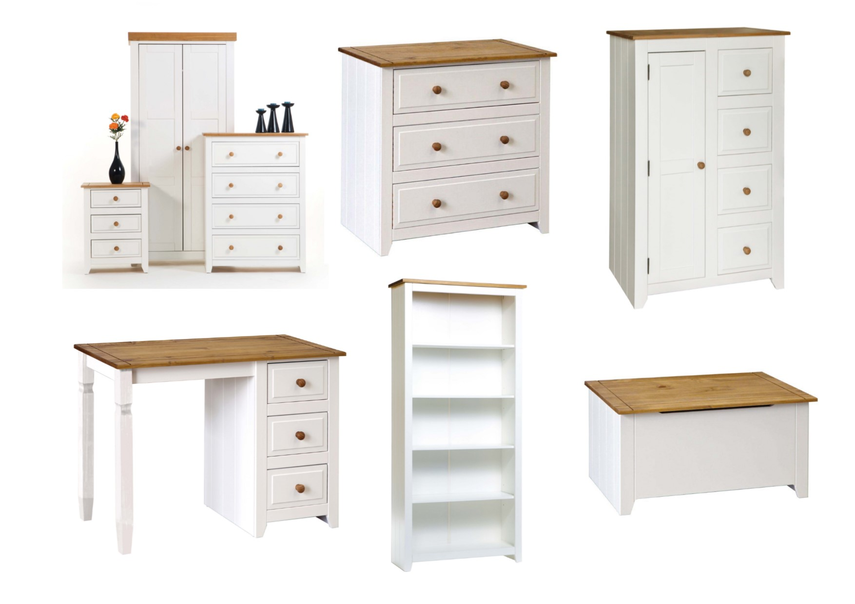 Capri white pine bedroom furniture bedside drawers wardrobe desk storage ebay for Bedroom set with storage drawers