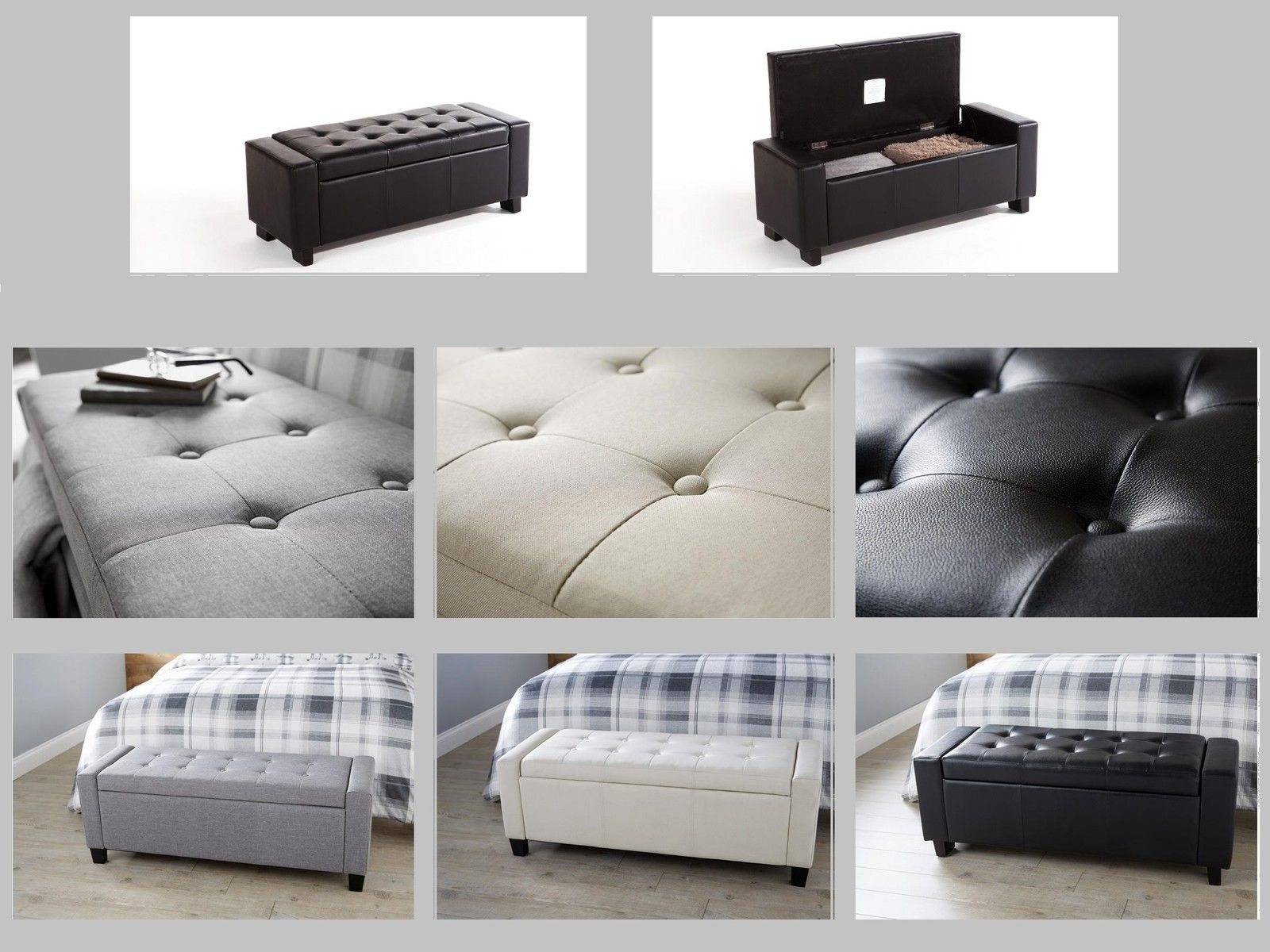 Ottoman Storage Bench Bedding Blanket Box Fabric Or Faux