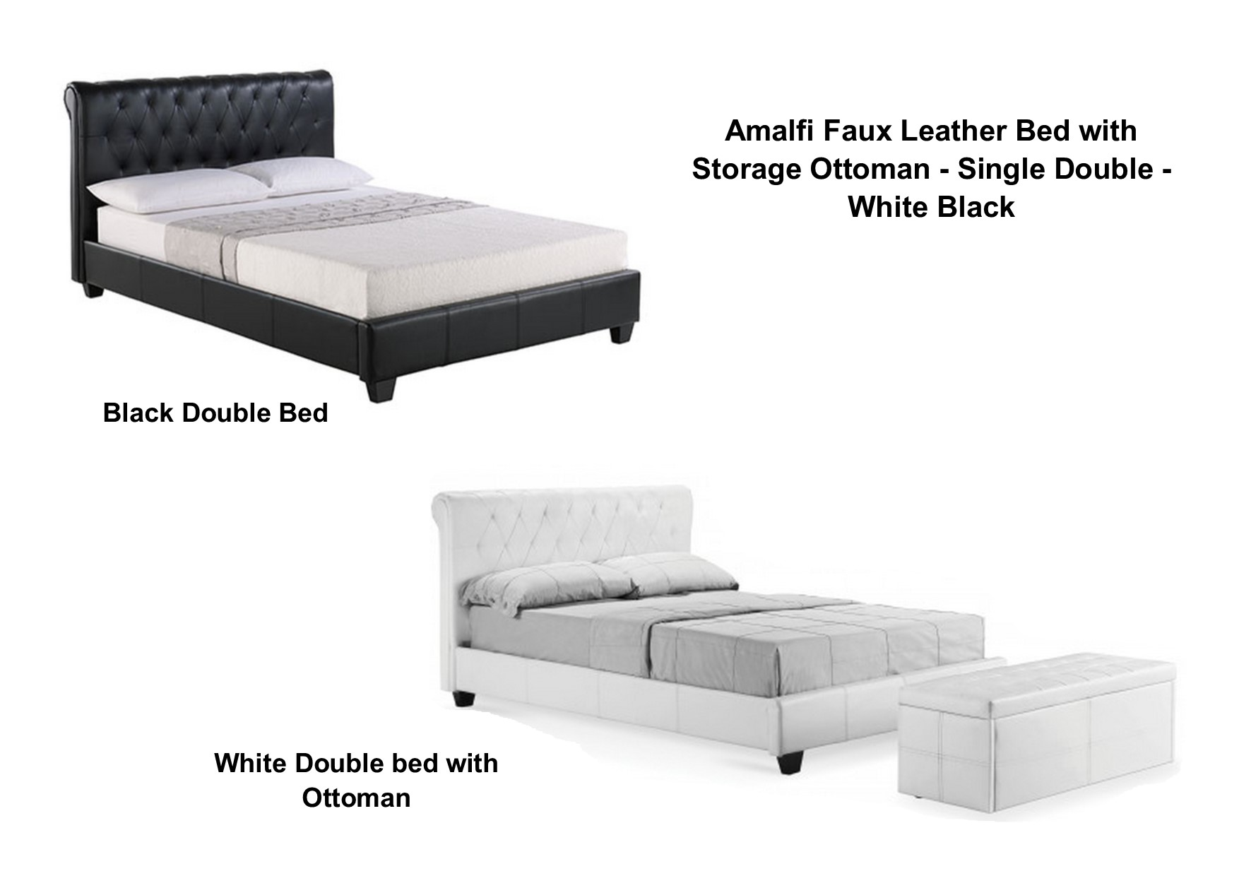 Prime Details About Amalfi Faux Leather Bed With Storage Ottoman Single Double White Black Caraccident5 Cool Chair Designs And Ideas Caraccident5Info