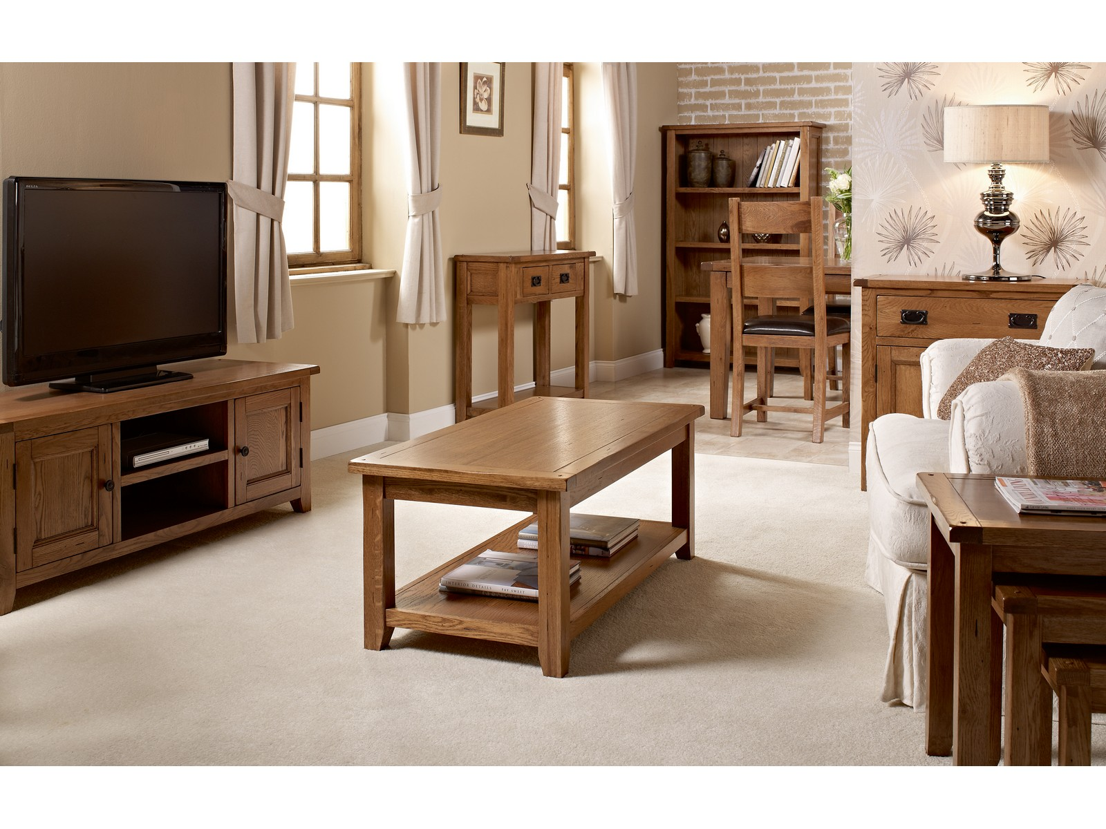 Dorset White Oak Living Room Furniture Tv Stand Table Chairs