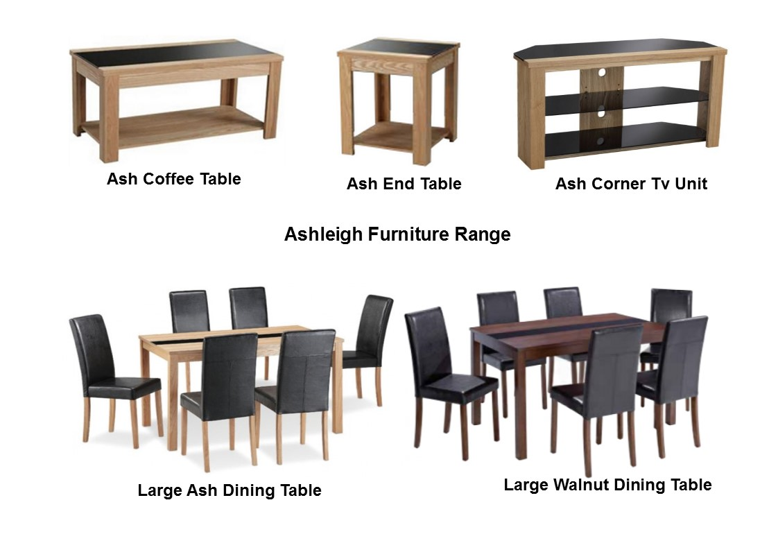 Ashleigh furniture range dining set chairs storage walnut black ash black