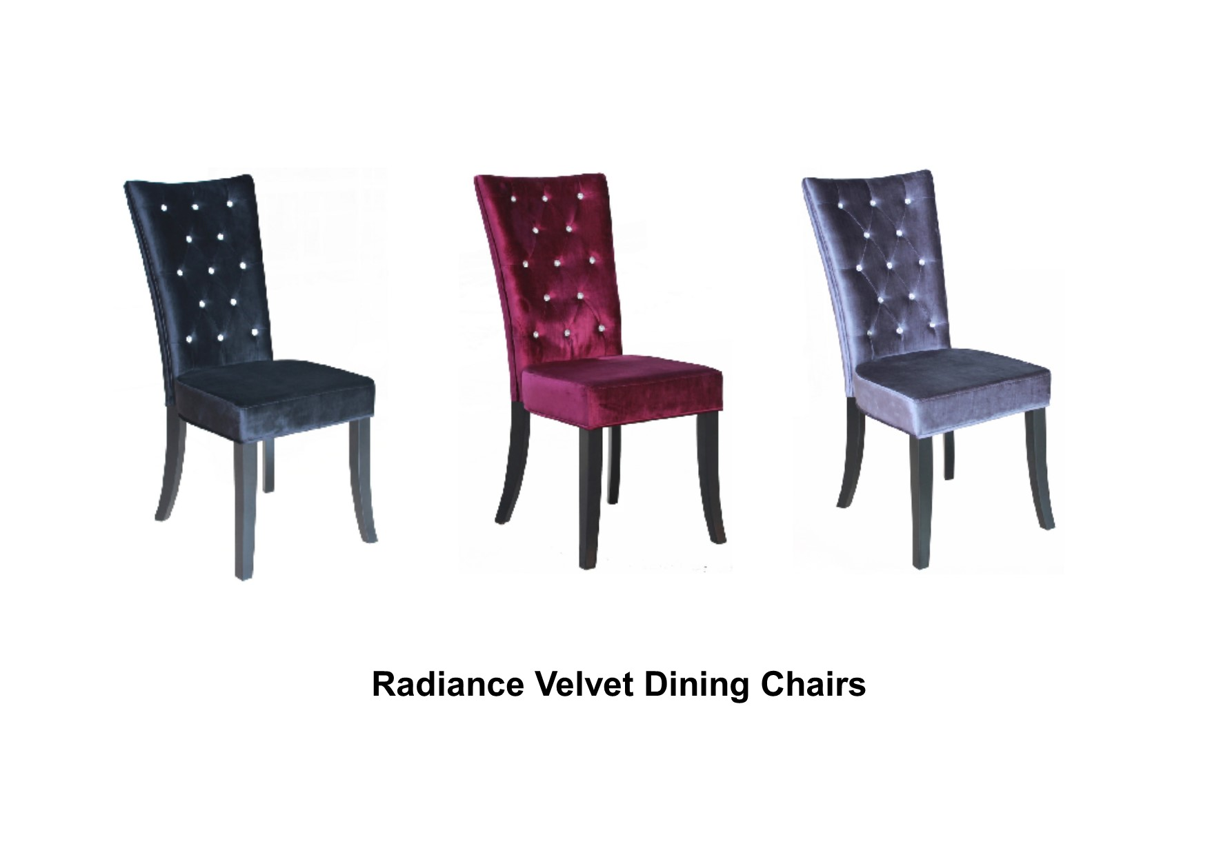 Pair Of Radiance Dining Chairs Crushed Velvet Amp Diamantes