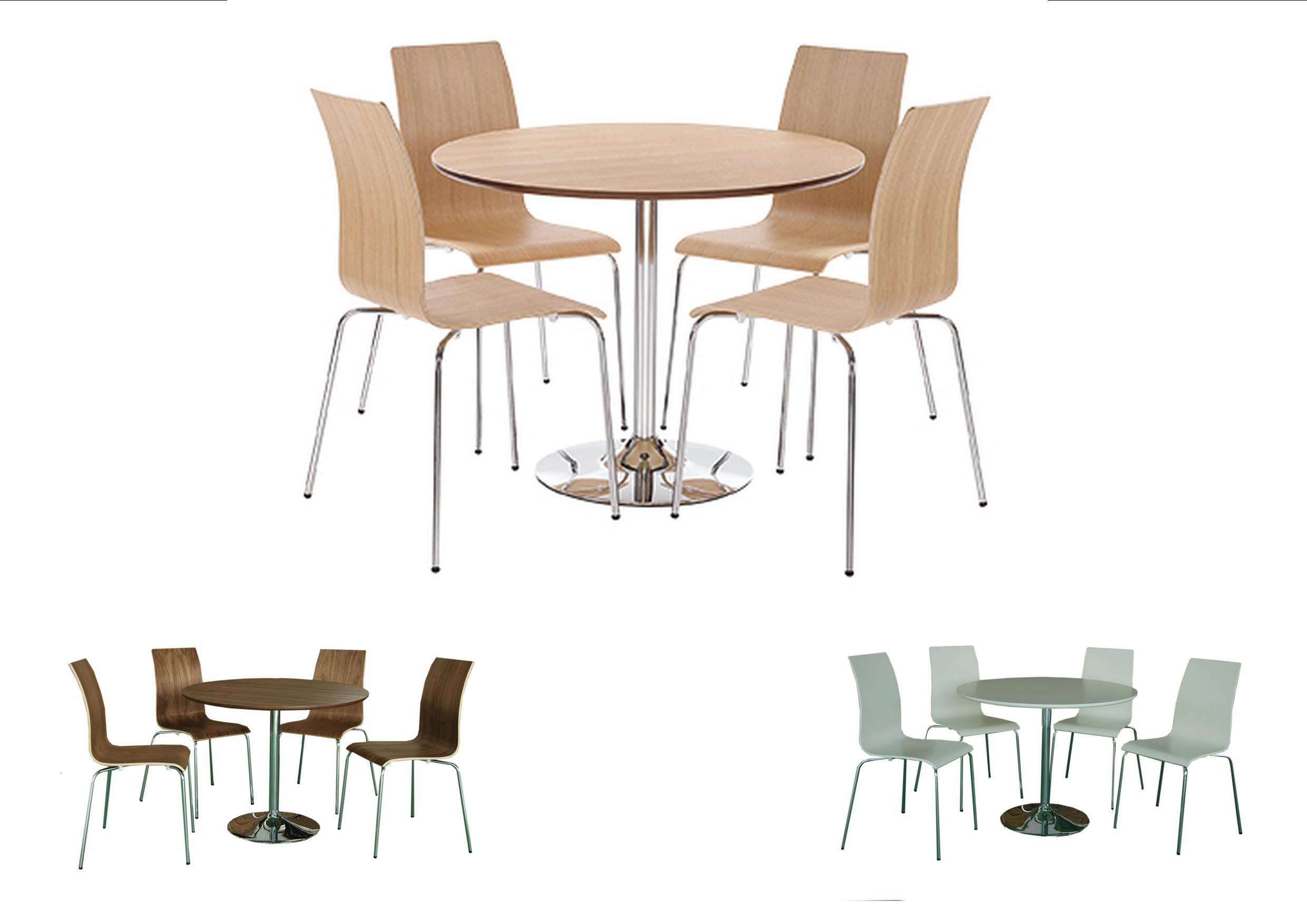 Soho Round Dining Table and 4 Chairs - Walnut, Oak, White ...