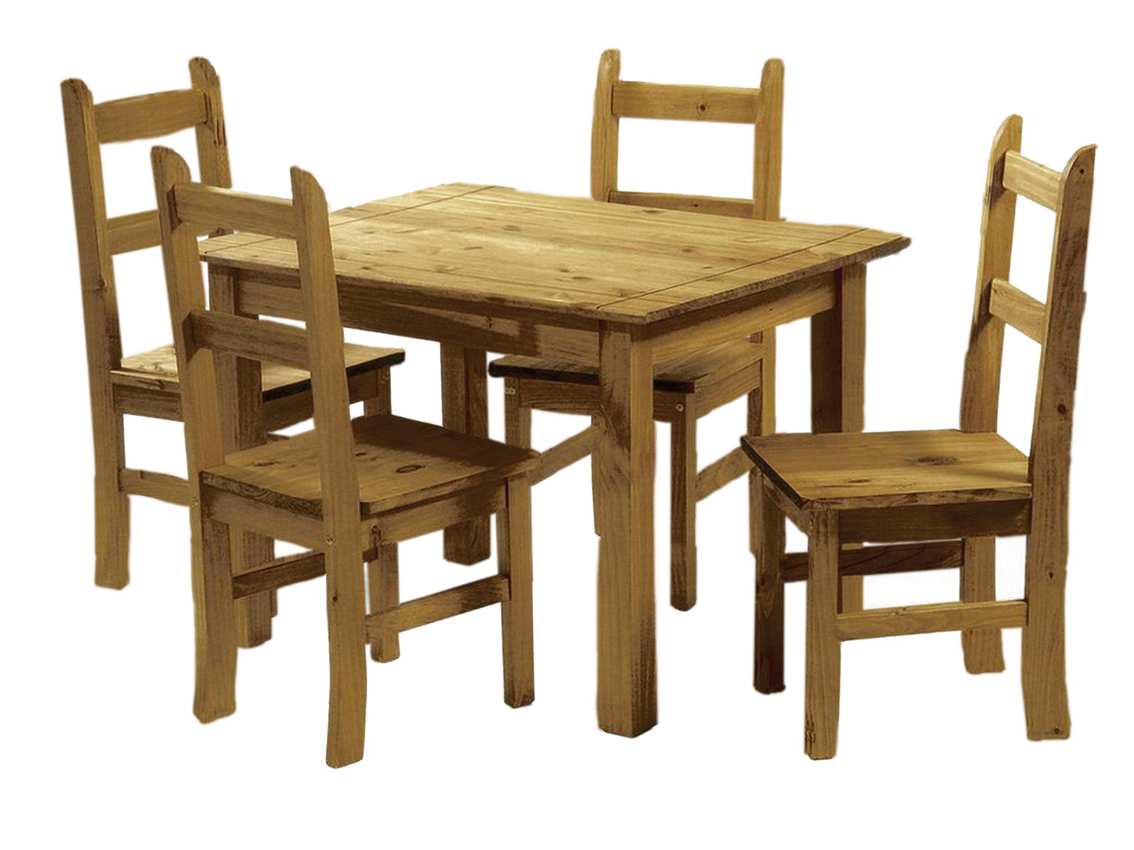 Mexican pine dining table and 4 chairs corona budget for Solid wood dining table sets