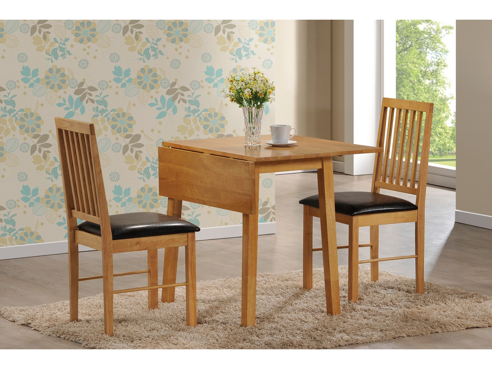 Palma drop leaf dining table and 2 faux leather chairs oak