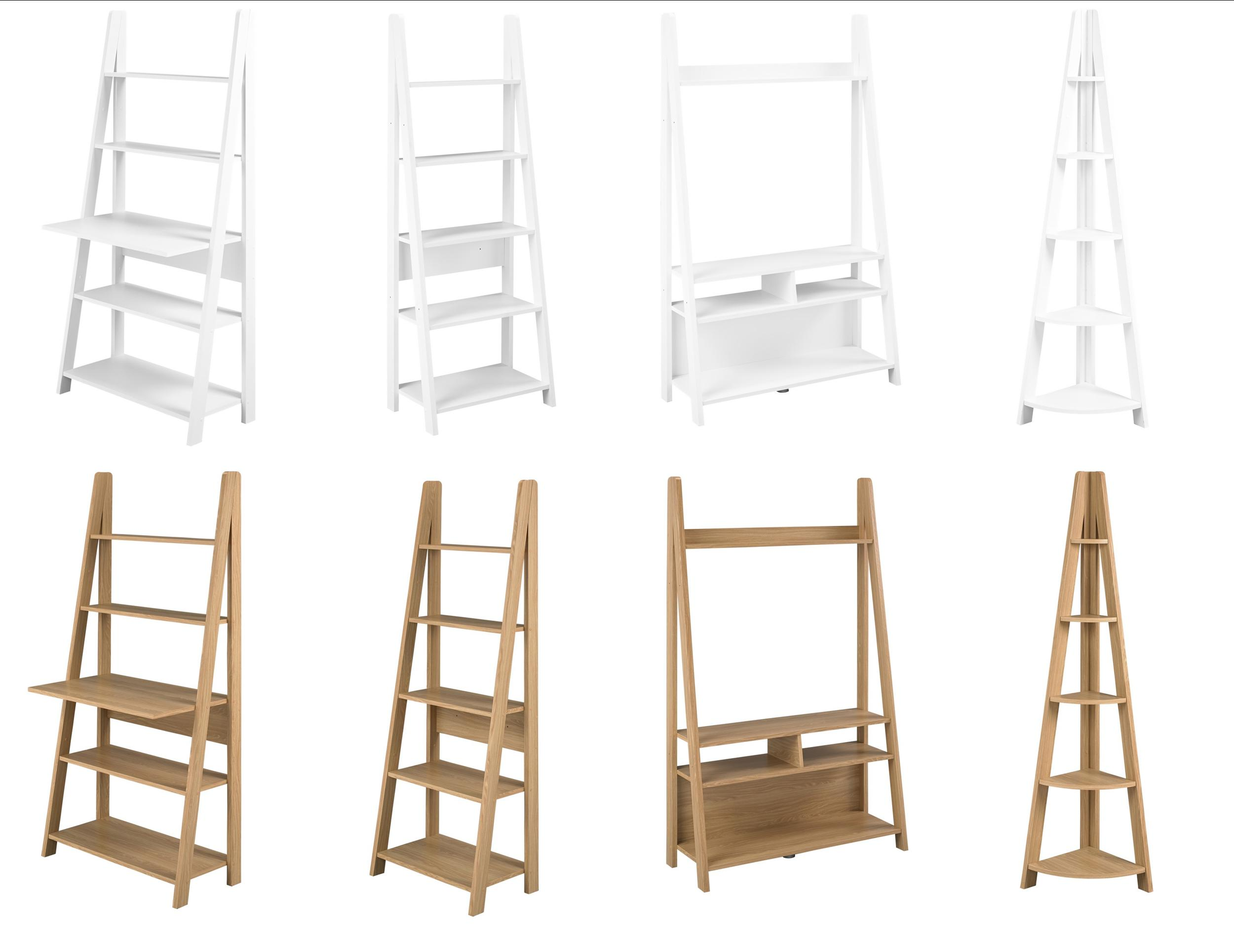 Tiva Ladder Shelving And Desk Range Tv Unit Bookcase Oak White