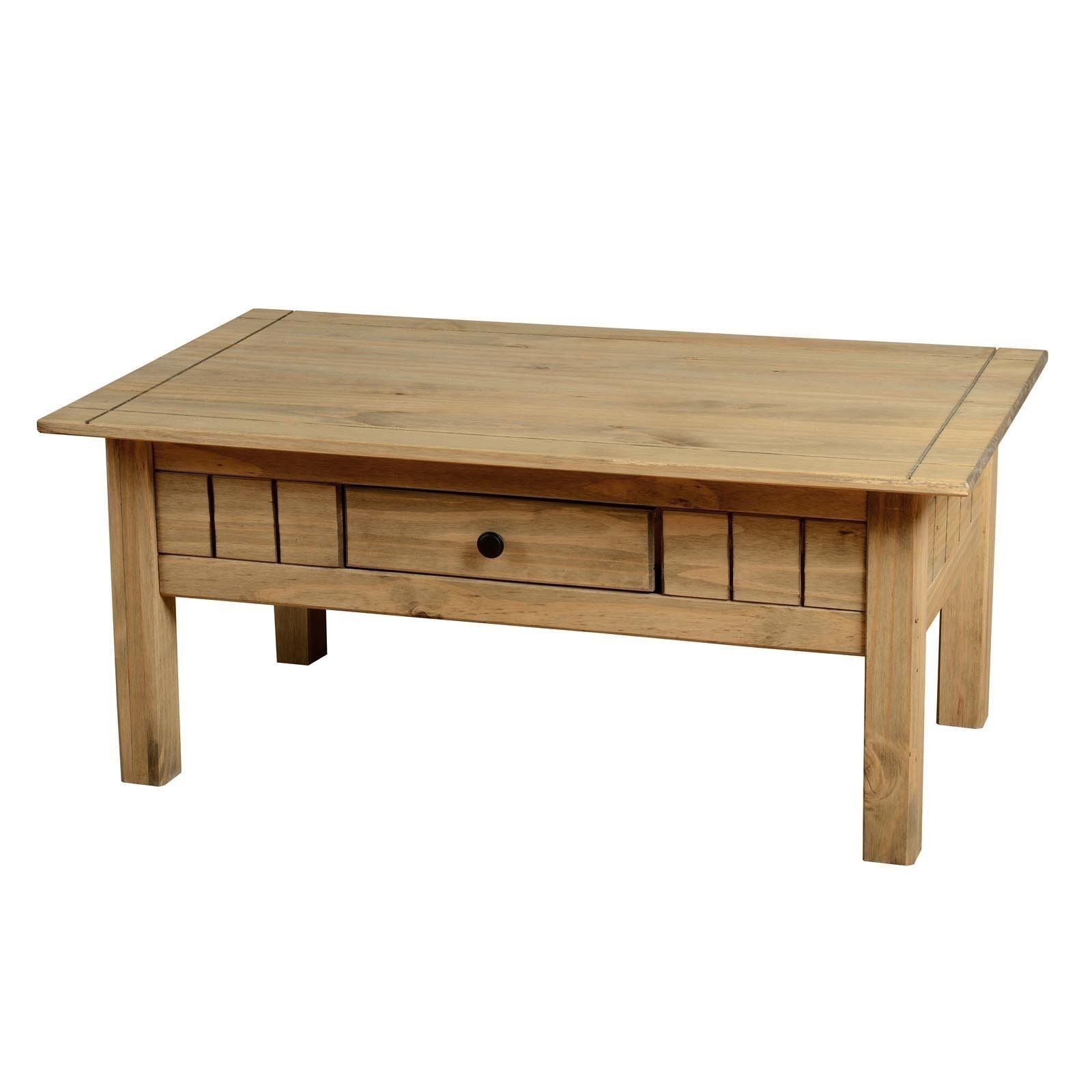 Seconique Panama Solid Pine Coffee Table with Drawer Waxed