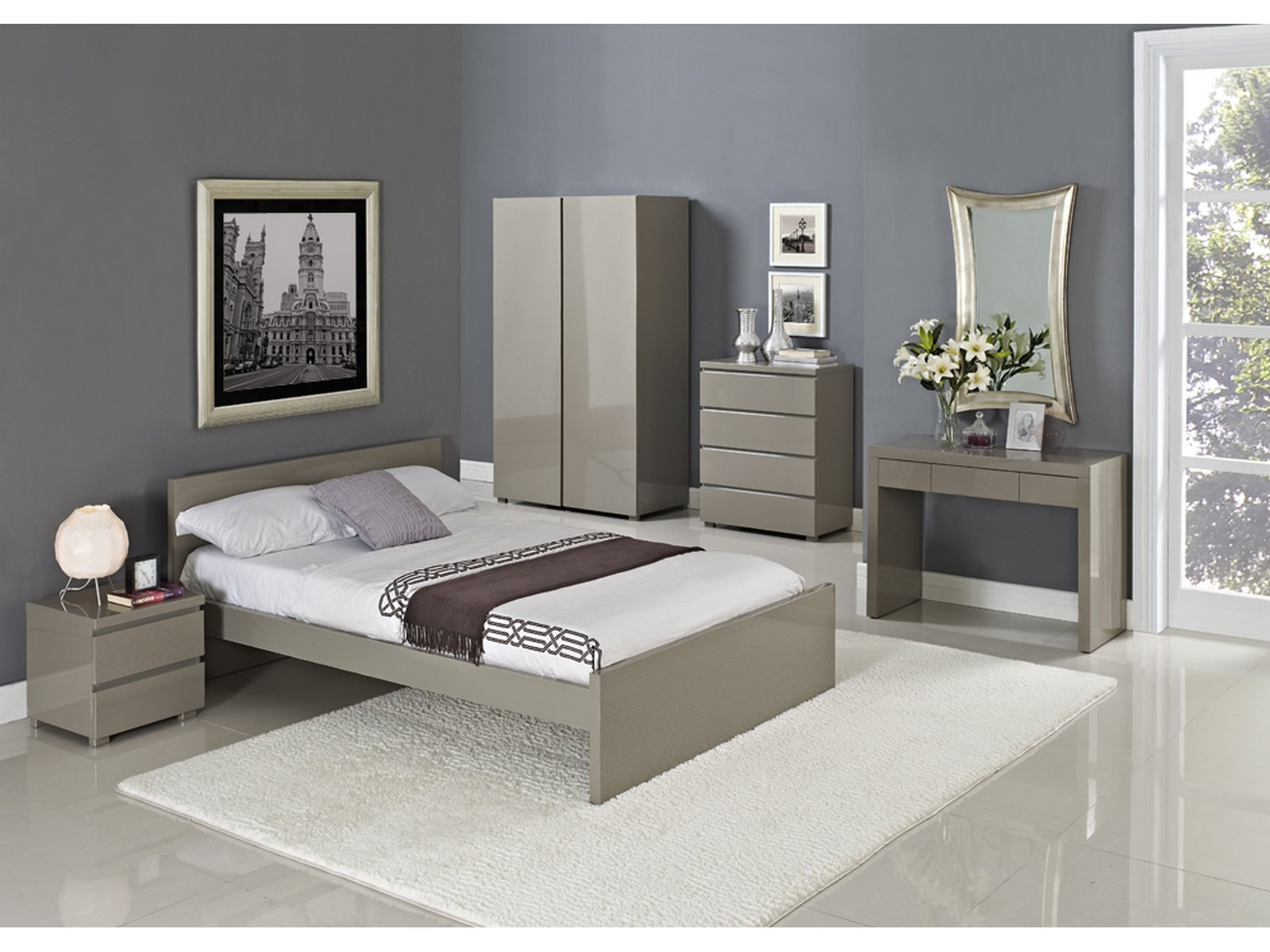 Details about Puro Stone or Cream High Gloss Bedroom Furniture - Beds,  Wardrobe - 9ft 9ft9 9ft