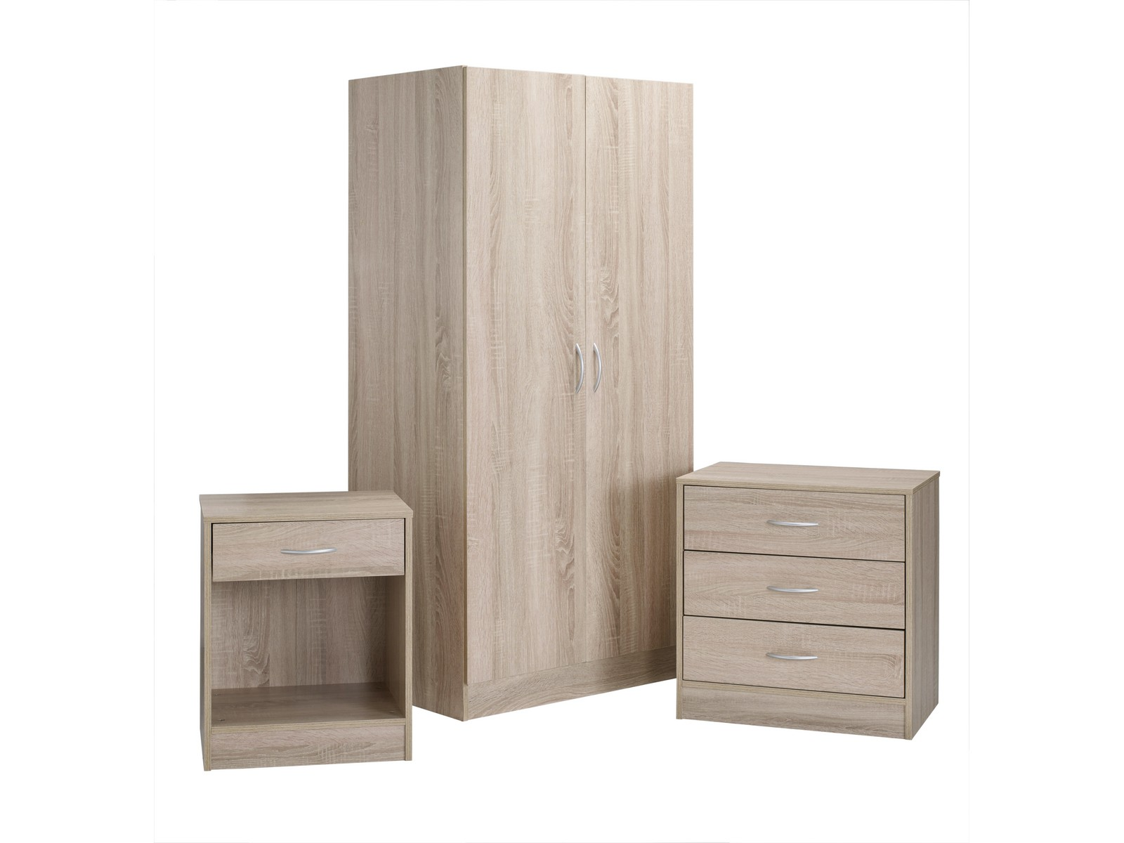 Delta Oak 3 Piece Bedroom Furniture Set 2 Door Wardrobe Chest