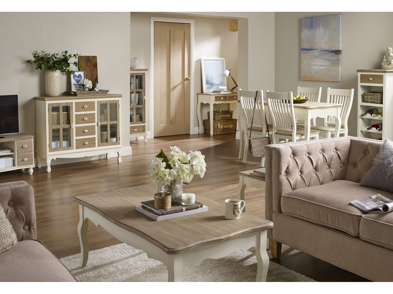 Details about Juliette Cream & Pine Living Room Furniture -Tables Storage  Cabinets Chairs