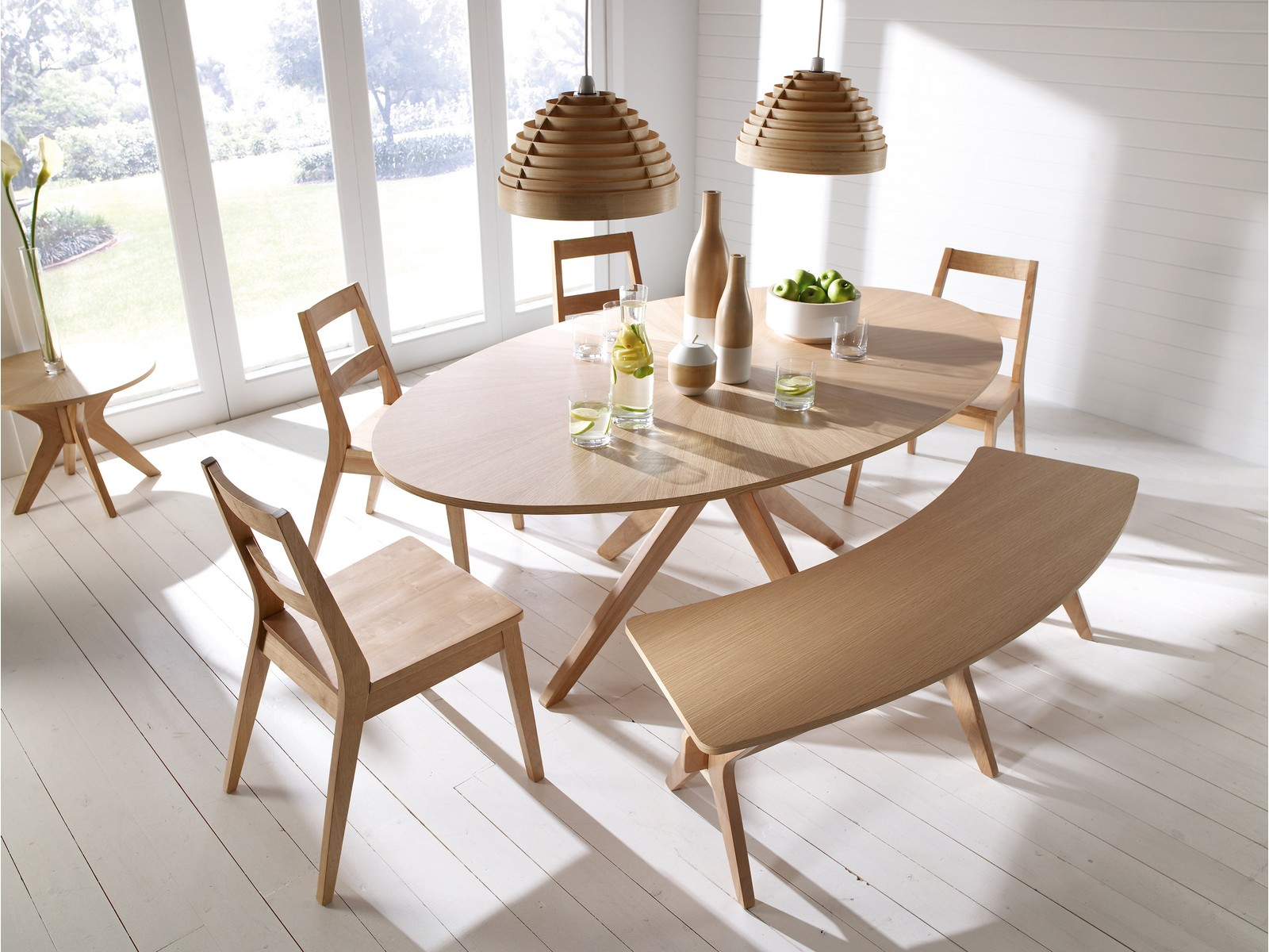 Malmo dining table set chairs bench oak veneer solid wood scandinavian style
