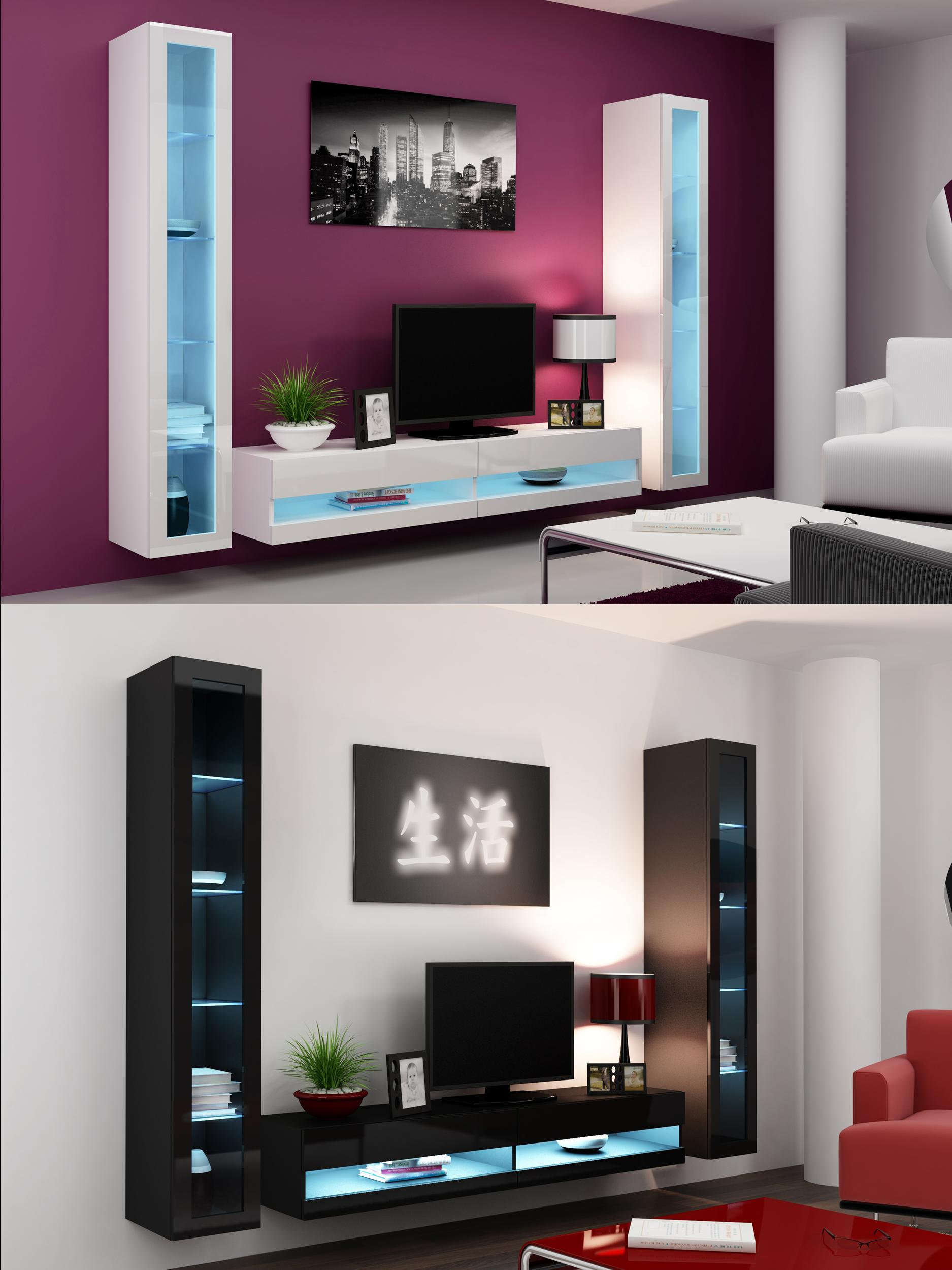 High gloss living room set with led lights tv stand wall for In wall tv cabinet