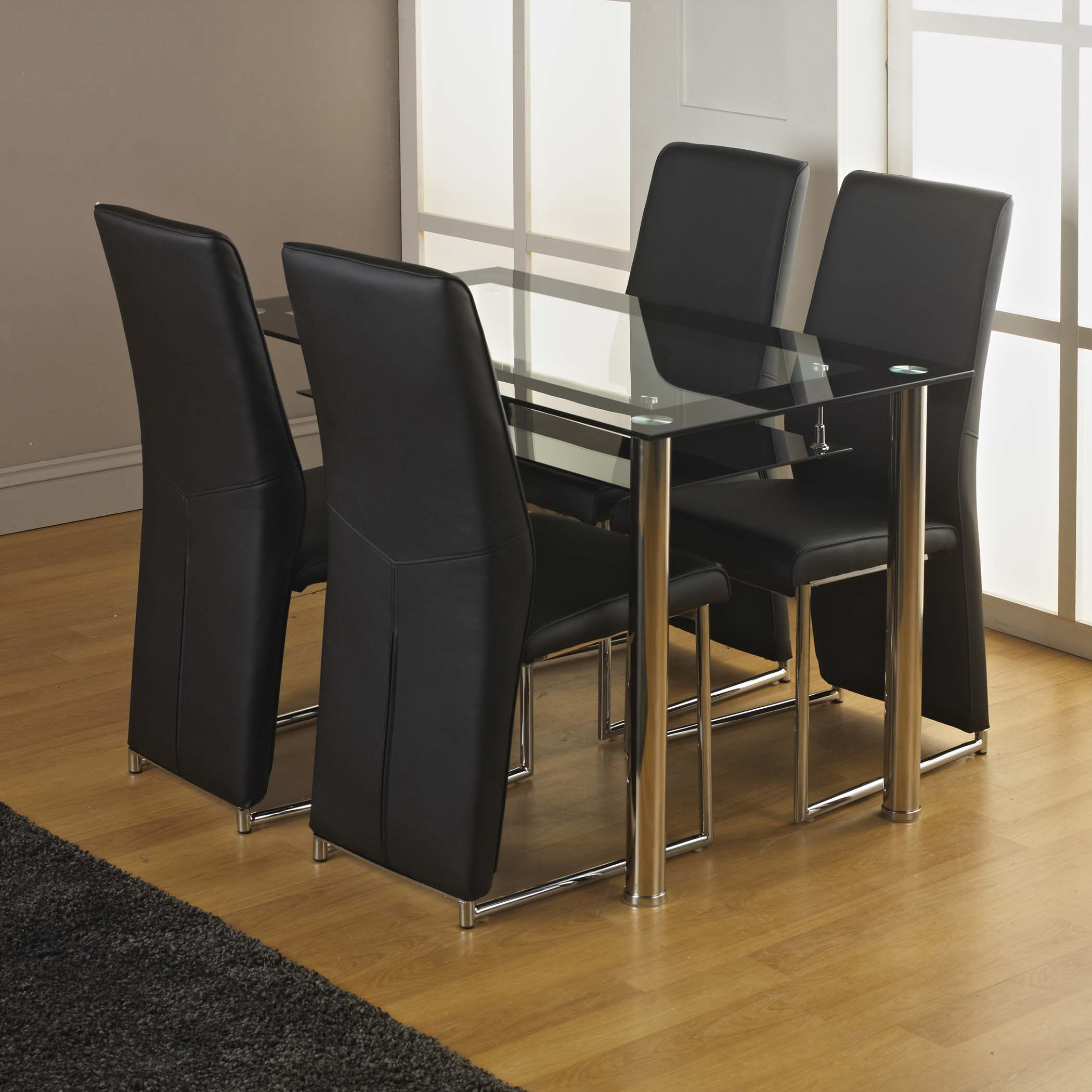 Kingston Tempered Glass Dining Table And Four Chairs   Choice Of Chair Style