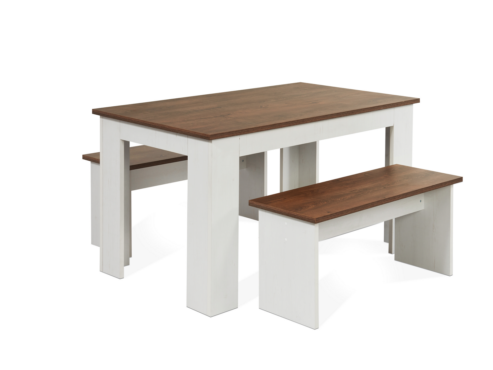 Kendal Kitchen Dining Table Bench Seat Set 3d Textured White Ash