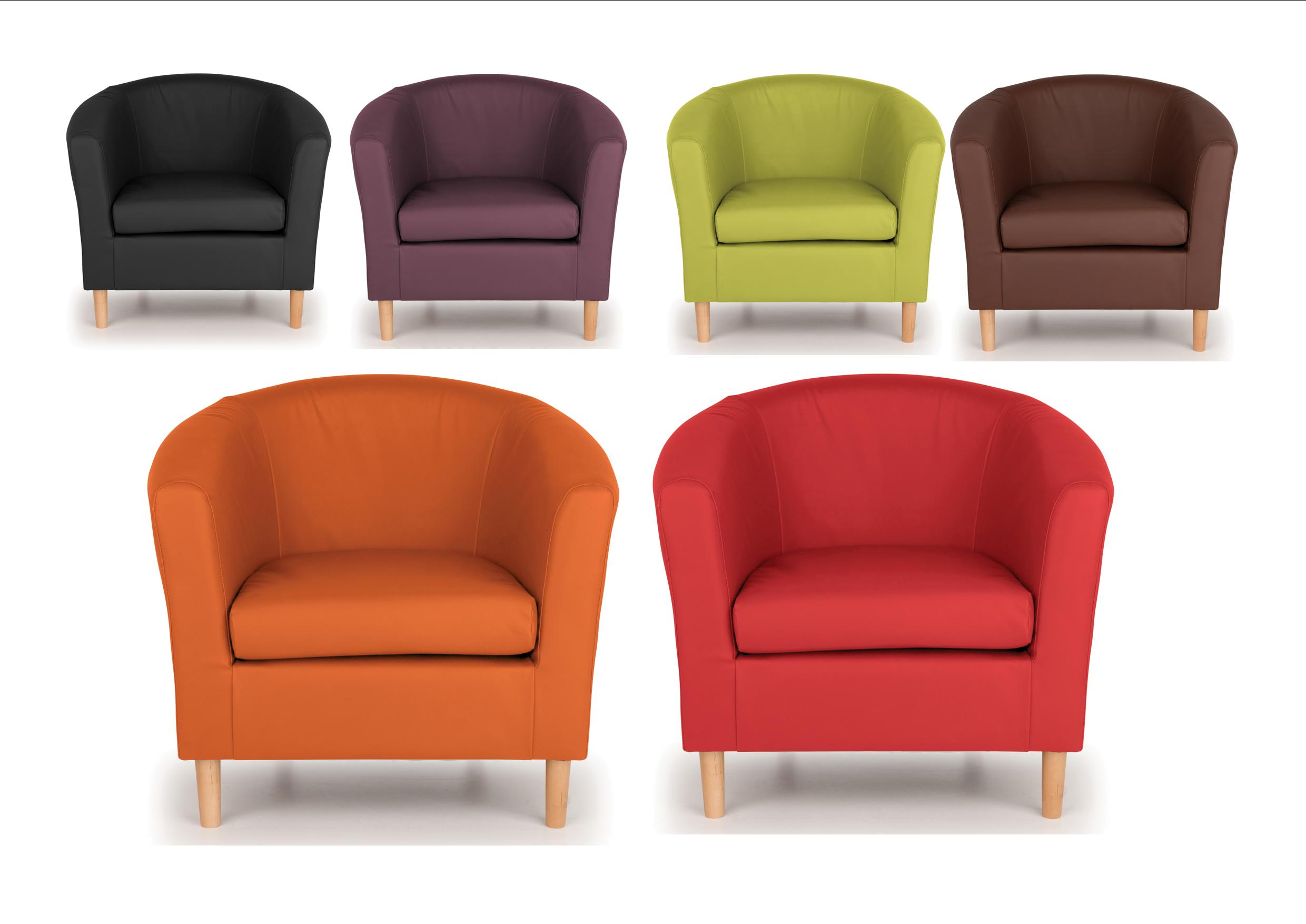 Superior Nicole Tub Chairs Armchair   Brown, Black Lime, Orange, Plum, Red   Faux  Leather