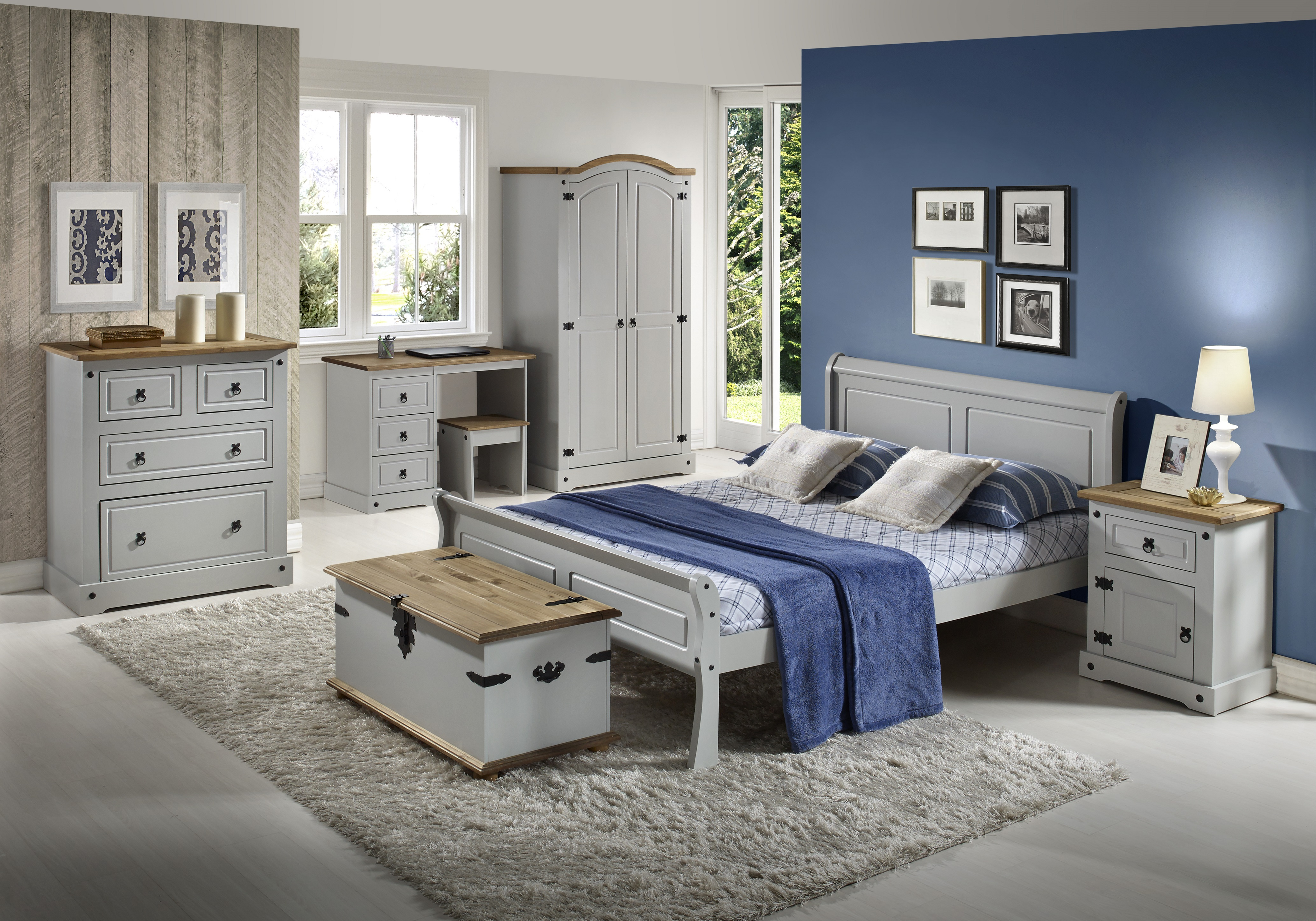 the best attitude 83946 f6c4c Details about Seconique Corona Grey / Distressed Waxed Pine Bedroom Range -  Wardrobe, Chests