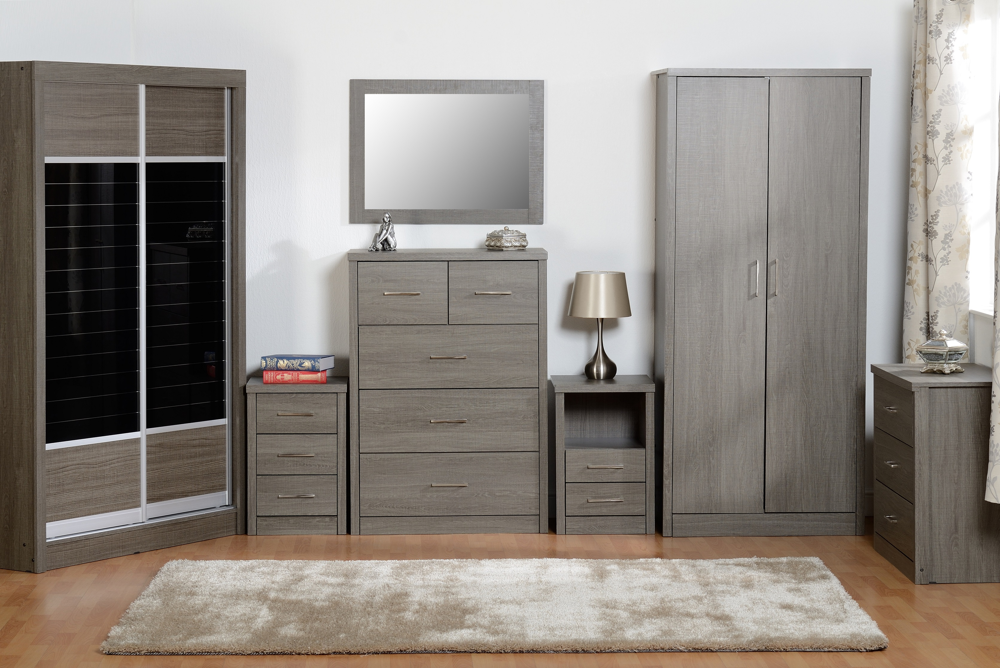 Details about Seconique Lisbon Black Bedroom Furniture Range - Wardrobe,  Drawers & Bedside
