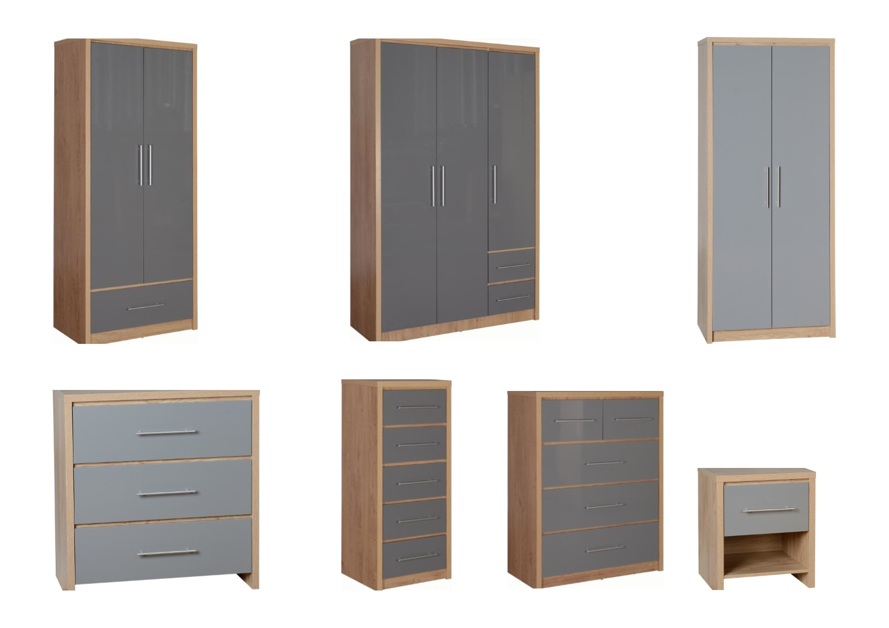 seconique seville bedroom furniture oak grey gloss