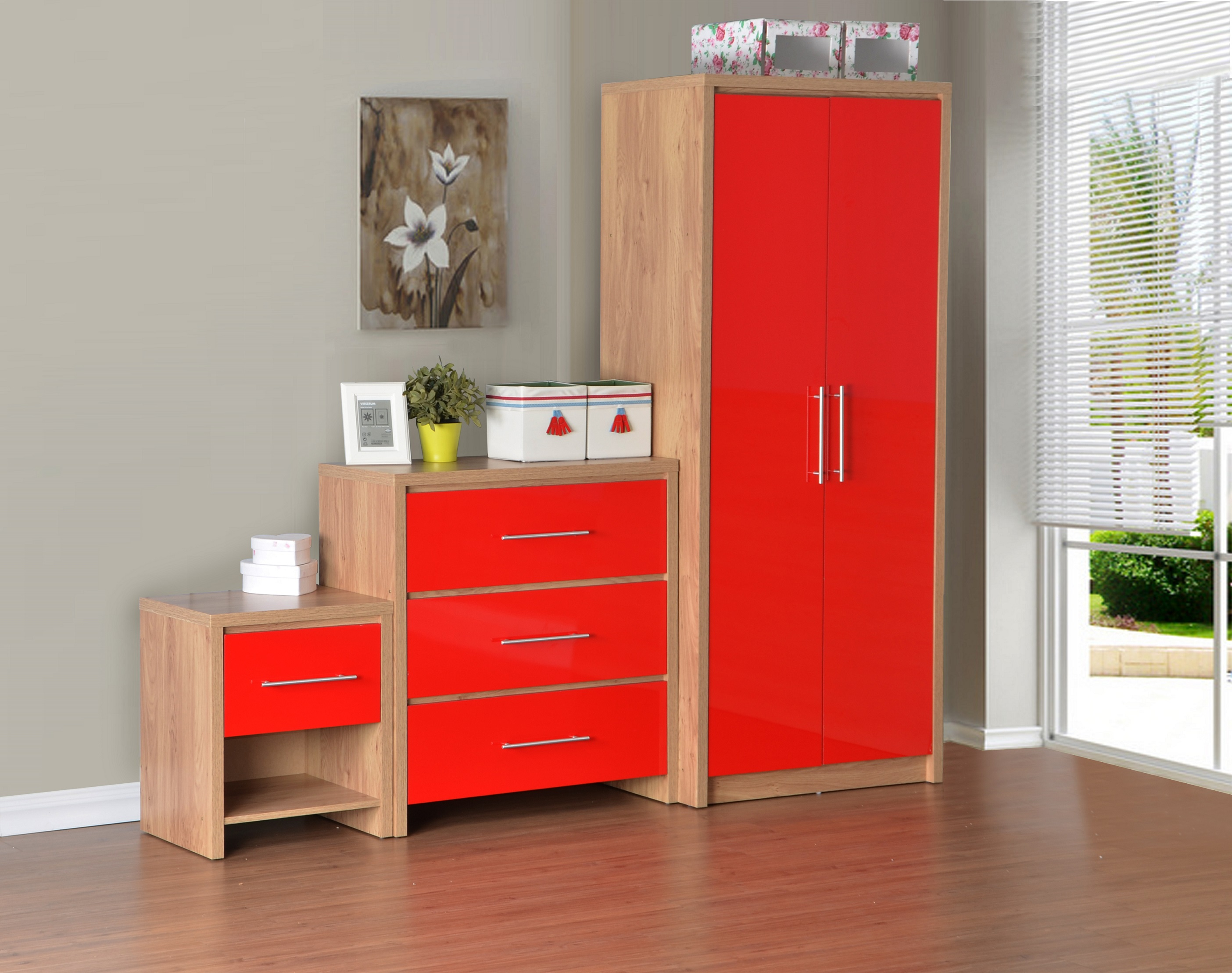 Amazing Seconique Seville Bedroom Furniture Oak/Red Gloss   Wardrobe Chest Bedside