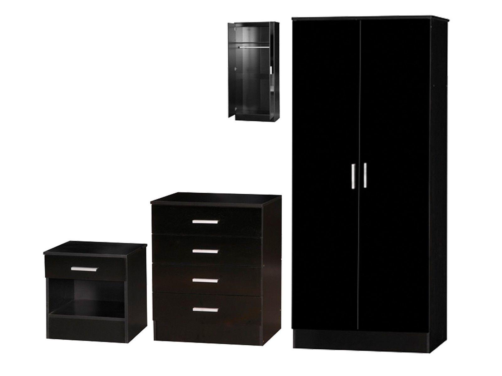 Galaxy gloss bedroom set wardrobe chest of drawers - Black chest of drawers for bedroom ...