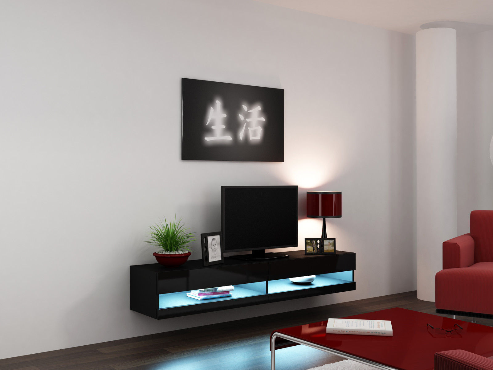 Black High Gloss Living Room Furniture Tv Stand With Led