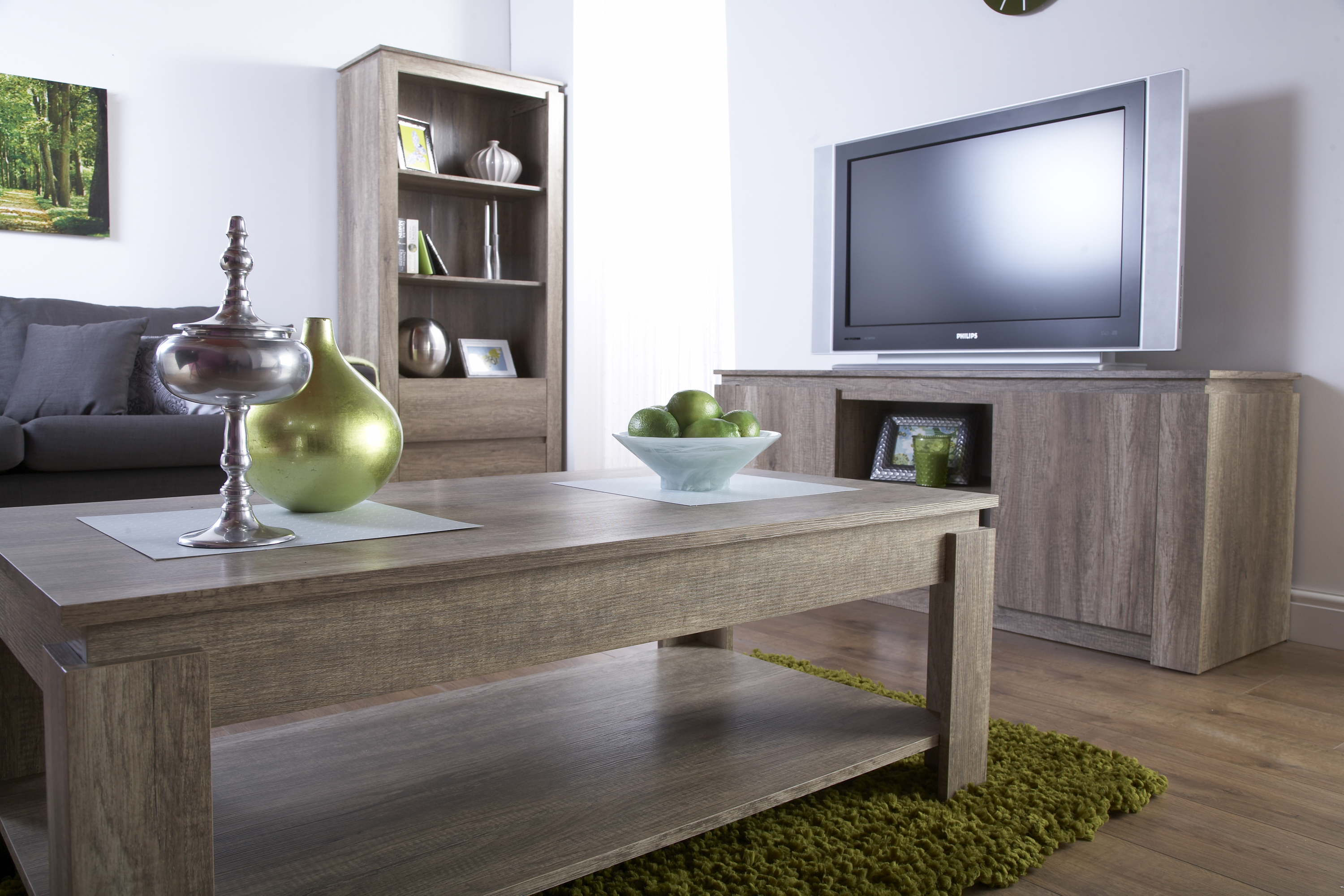 Canyon Dark Oak Living Room Furniture - Storage Table TV Unit ...