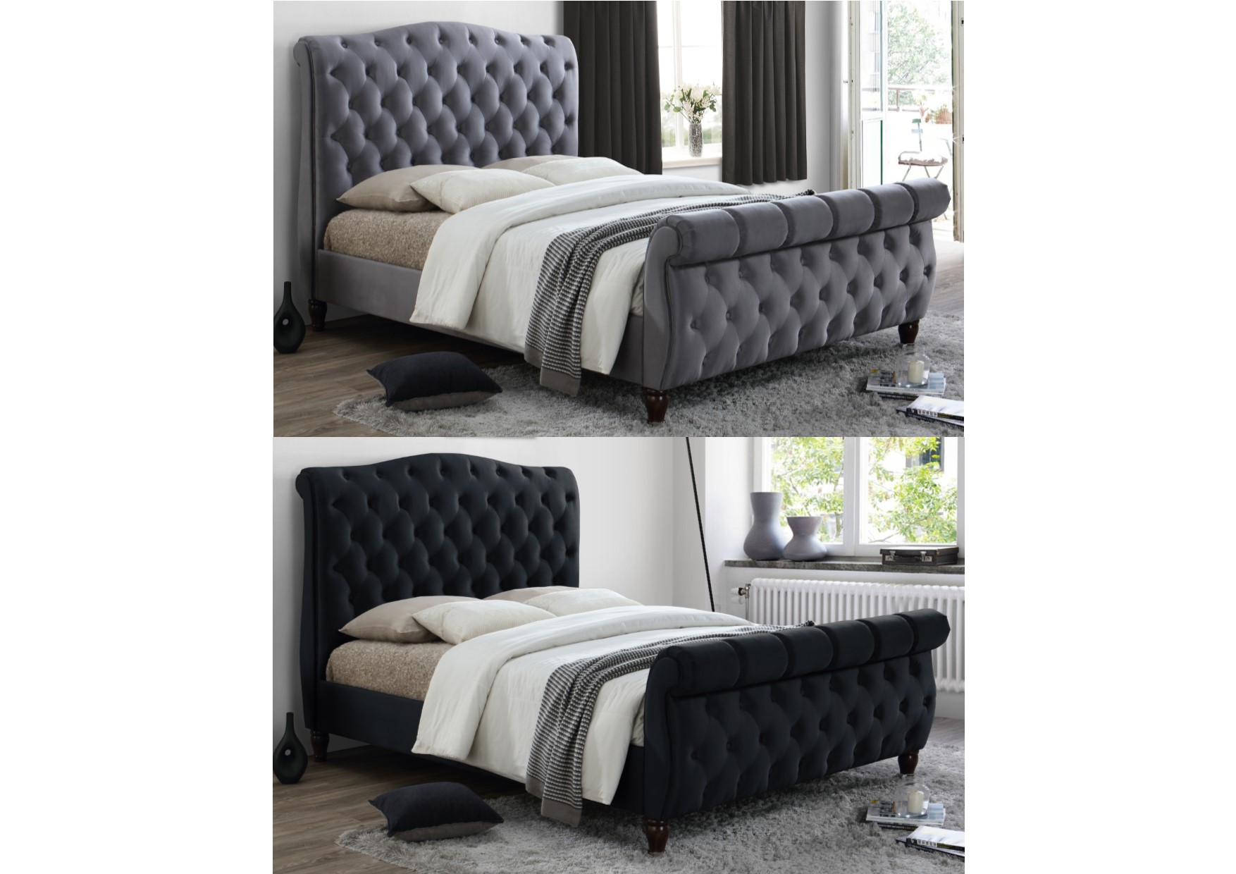 Details About Birlea Colorado Chesterfield Fabric Sleigh Bed   Kingsize  Super King Black Grey