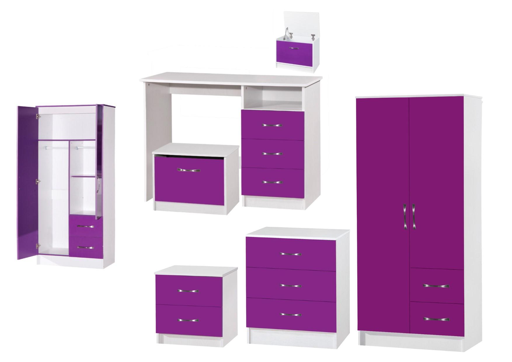 purple bedroom furniture. Marina Purple White High Gloss Bedroom Furniture- Sets Wardrobe Drawers Bedside Furniture