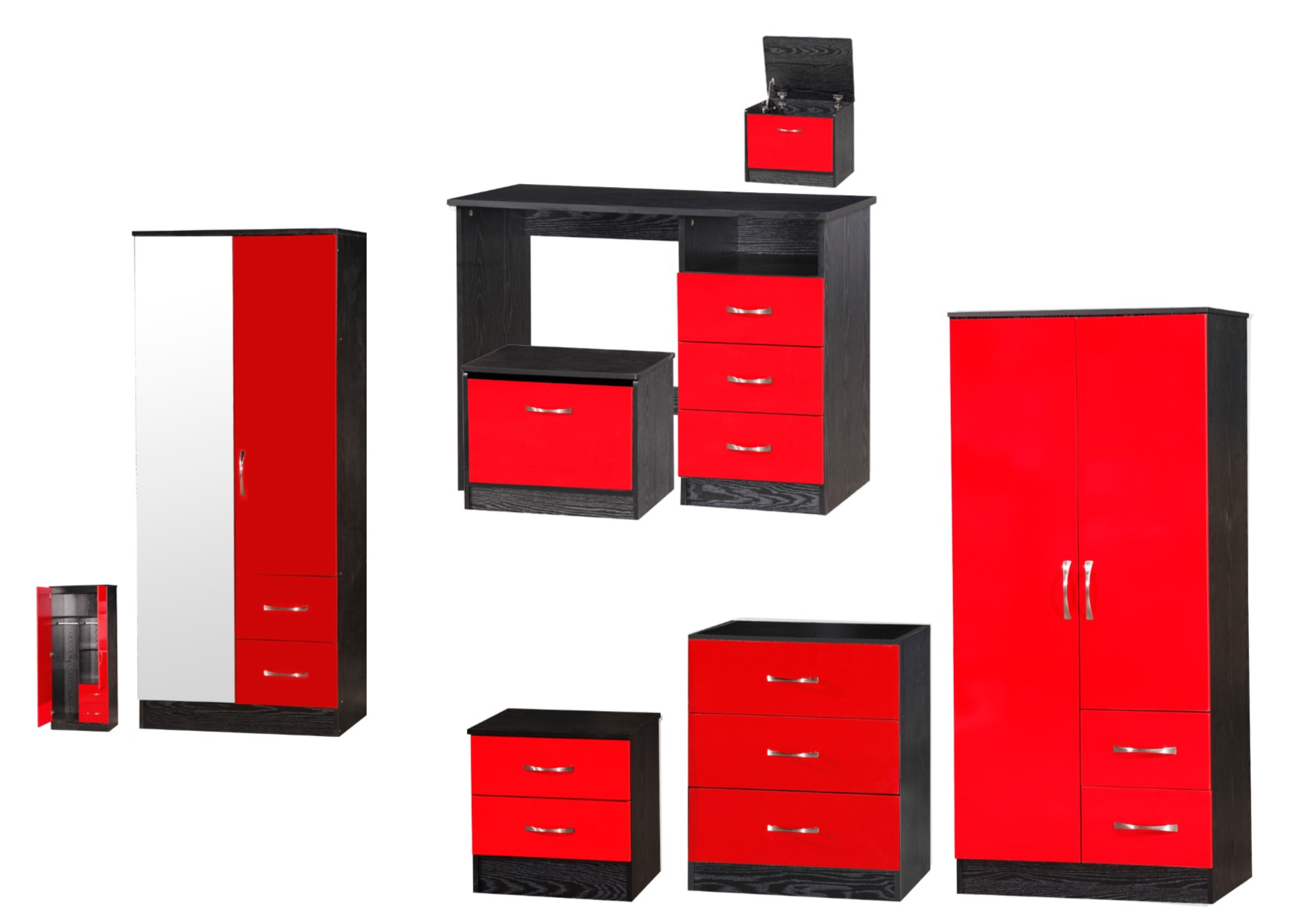 red high gloss furniture. Marina Red \u0026 Black High Gloss Bedroom Furniture - Sets Wardrobe Drawers Bedside