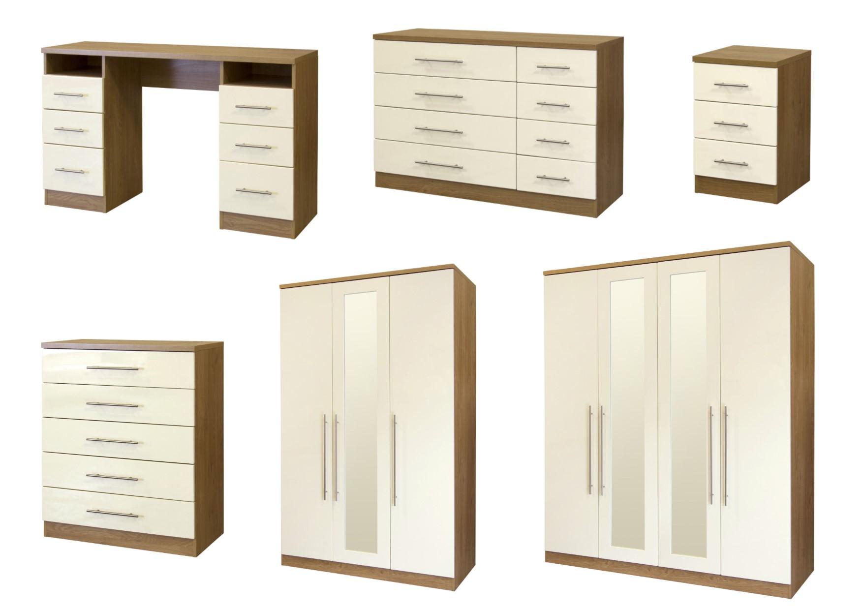 Keswick High Gloss Cream Oak Bedroom Furniture Wardrobe Drawers Bedside