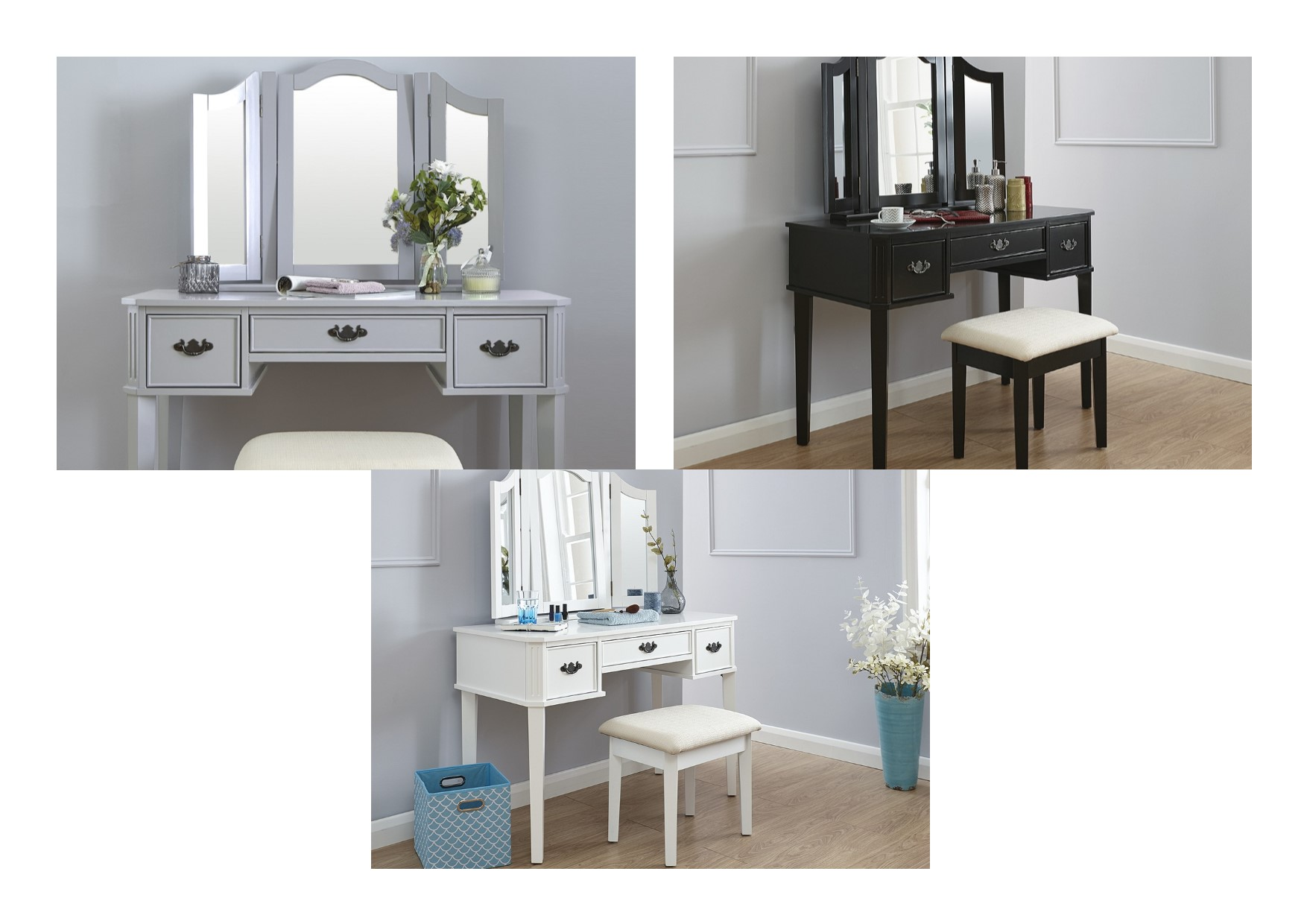 Bella Traditional Dressing Table Set - Black, Grey, White | eBay