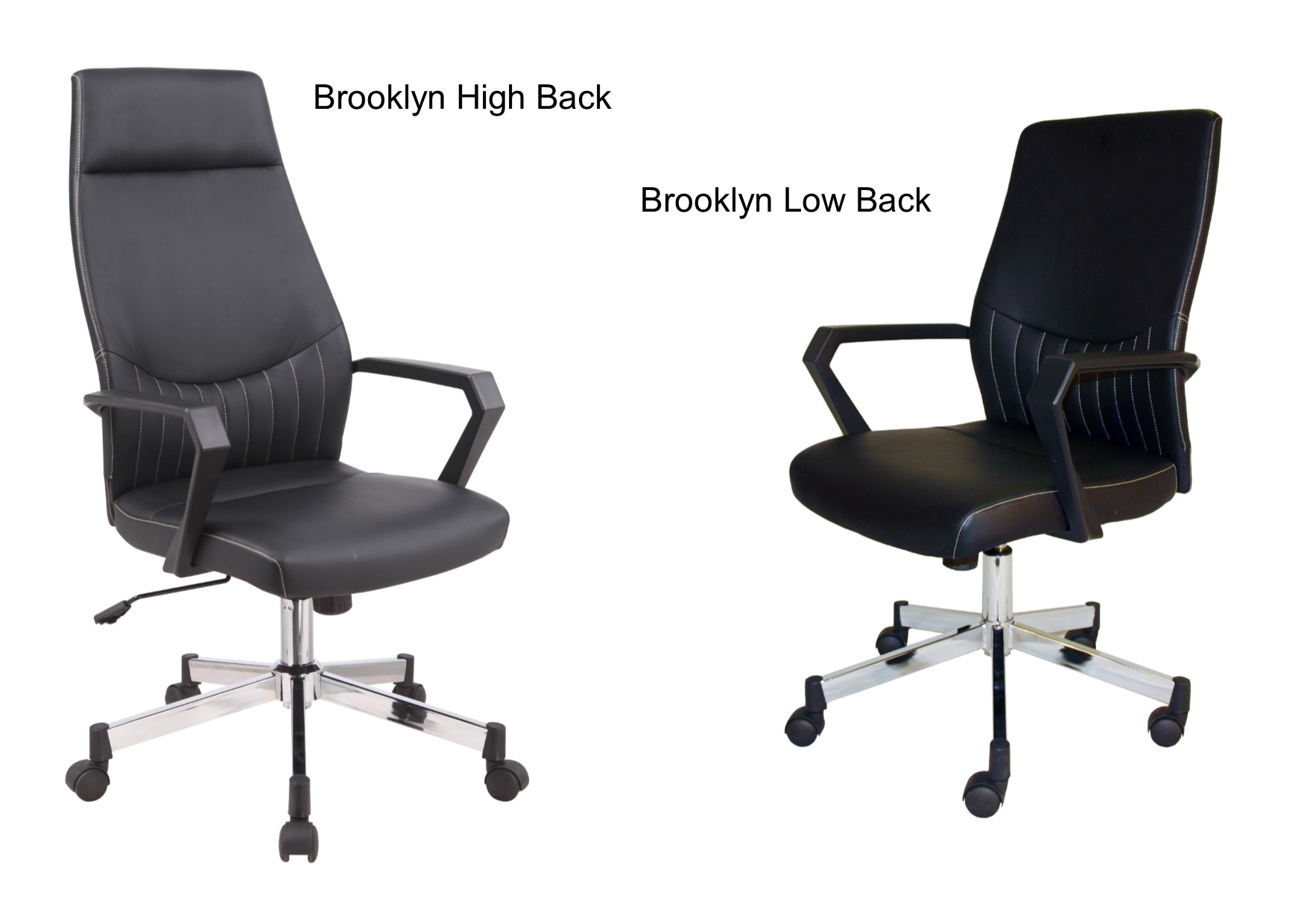 Swell Details About Brooklyn Black Modern Faux Leather Office Chair High Or Low Back Creativecarmelina Interior Chair Design Creativecarmelinacom